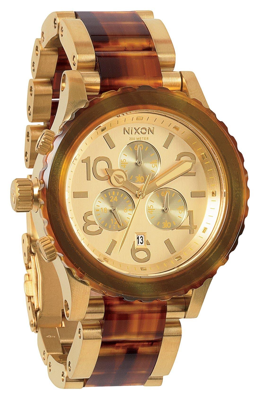 Alternate Image 1 Selected - Nixon 'The 42-20 Chrono' Acetate & Rose Gold Watch