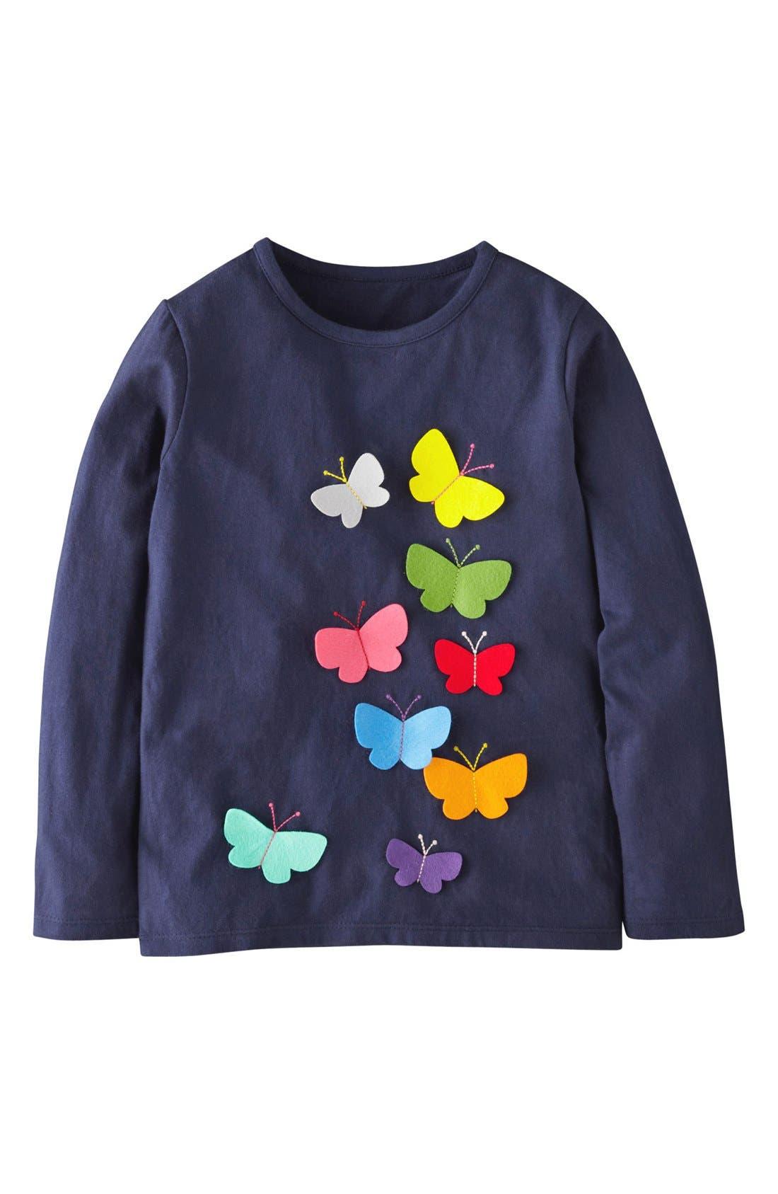 Main Image - Mini Boden 'Fluttery' Applique Long Sleeve Tee (Toddler Girls, Little Girls & Big Girls)