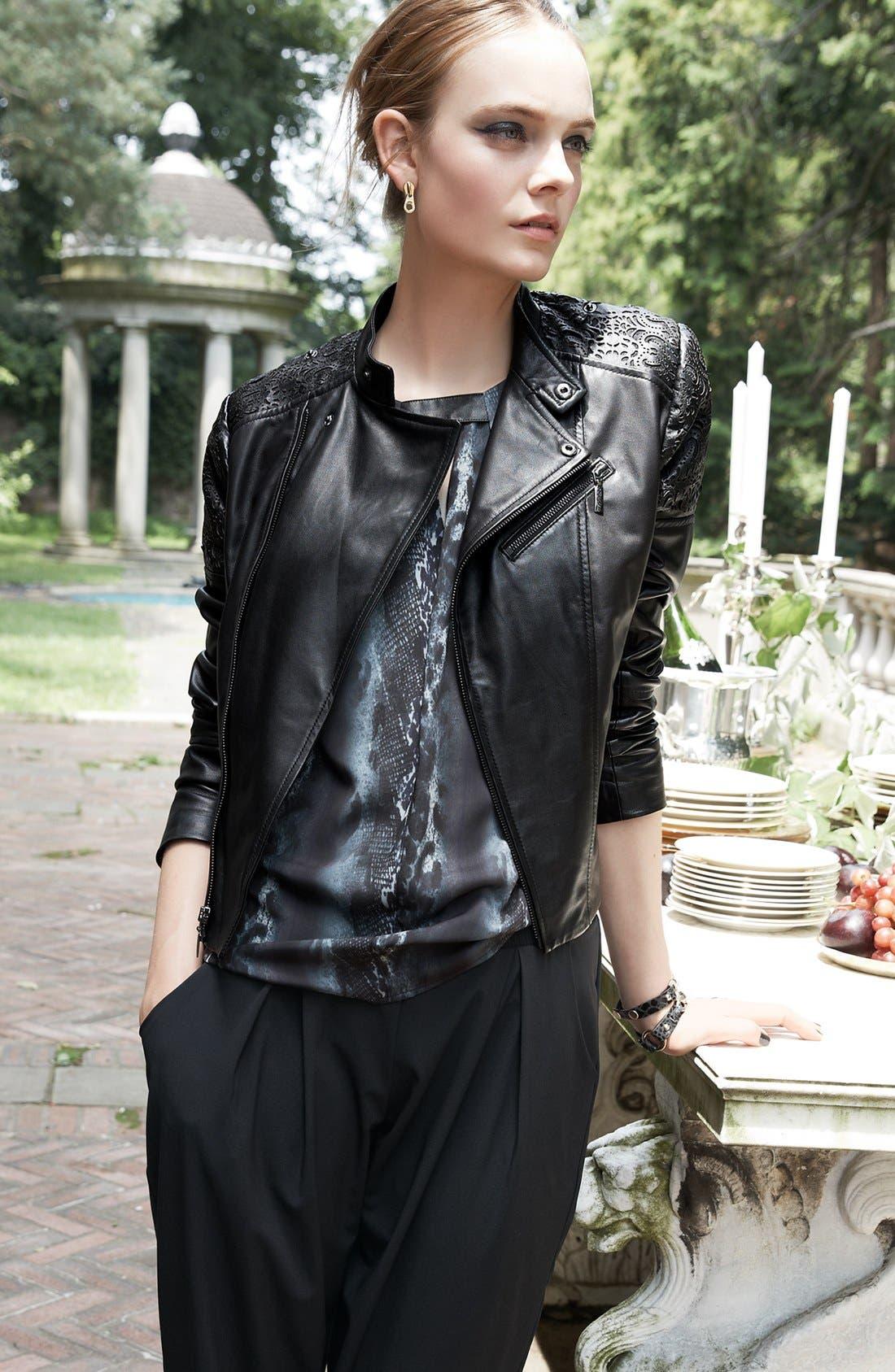 Alternate Image 4  - Bernardo Cutout Trim Leather Moto Jacket (Nordstrom Exclusive)
