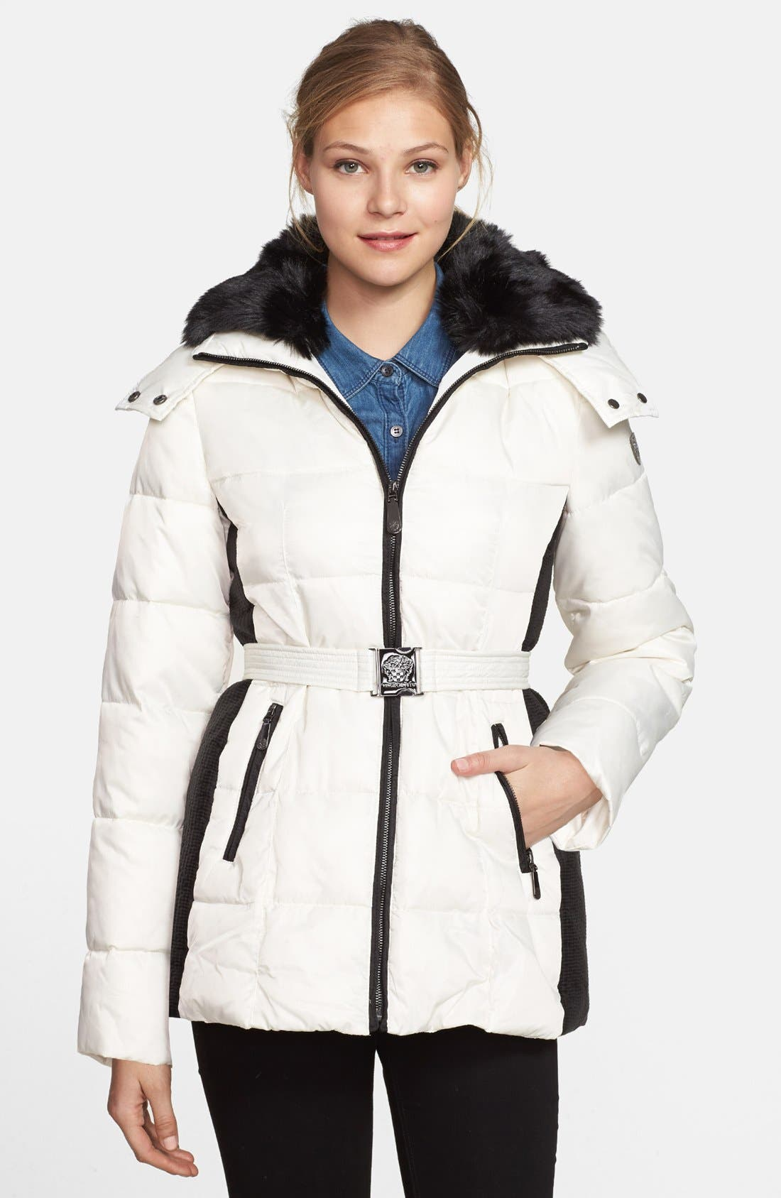 Main Image - Vince Camuto Belted Puffer Coat with Faux Fur Collar