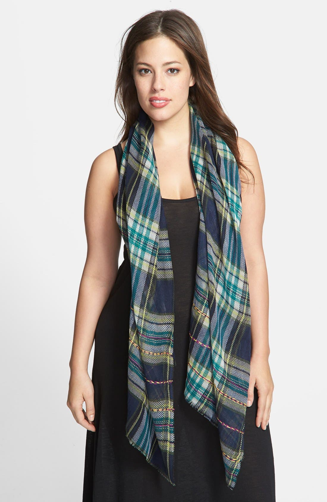 Alternate Image 1 Selected - Lucky Brand Plaid Wool Scarf