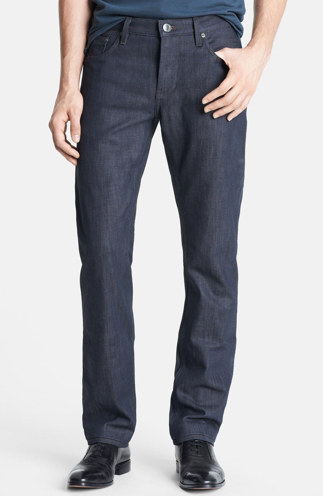 Main Image - Burberry London Coated Slim Fit Jeans (Navy)