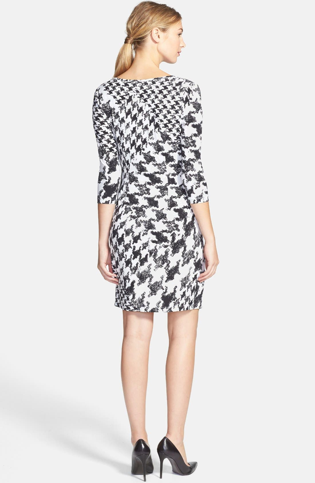 Alternate Image 3  - GUESS Houndstooth Print Faux Wrap Jersey Dress