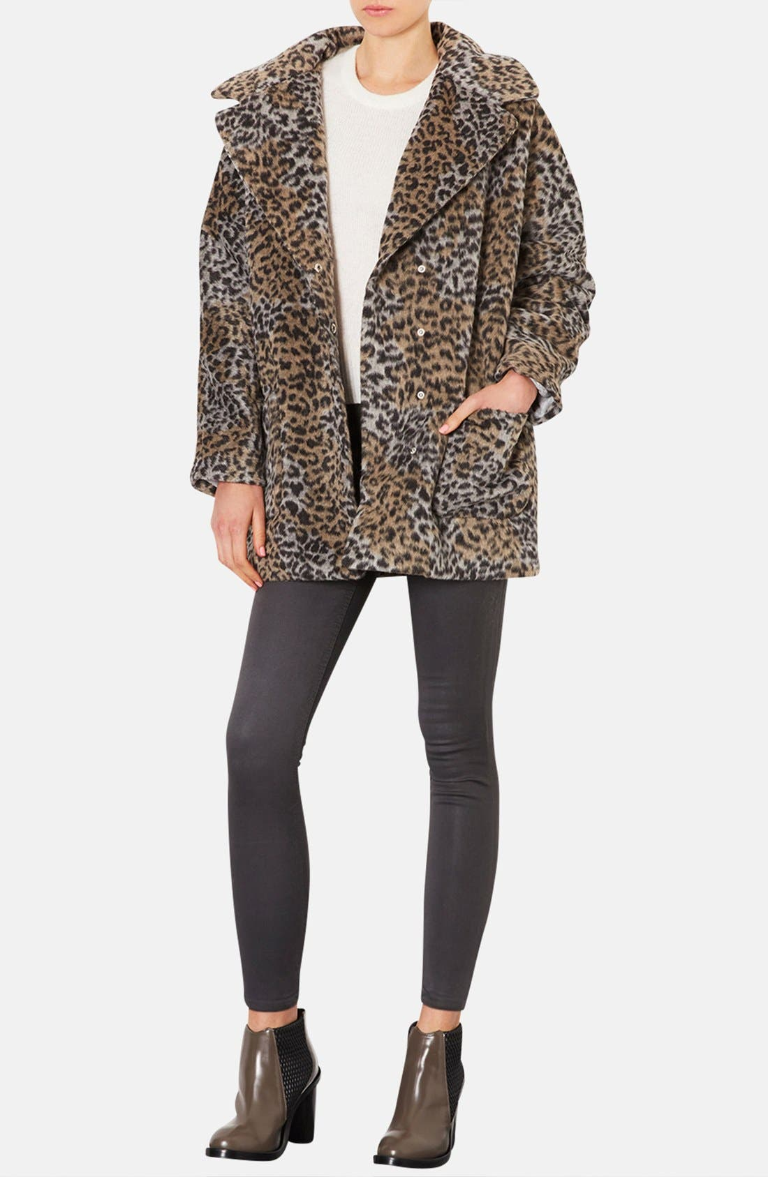 Alternate Image 4  - Topshop Leopard Pattern Coat