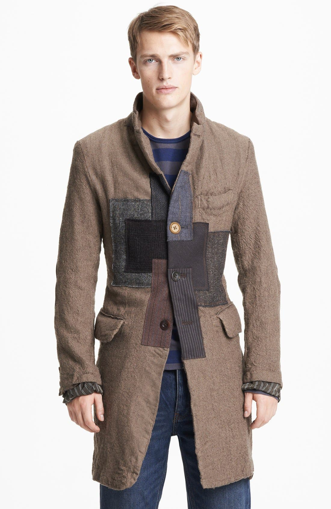 Main Image - Junya Watanabe Patchwork Wool Overcoat