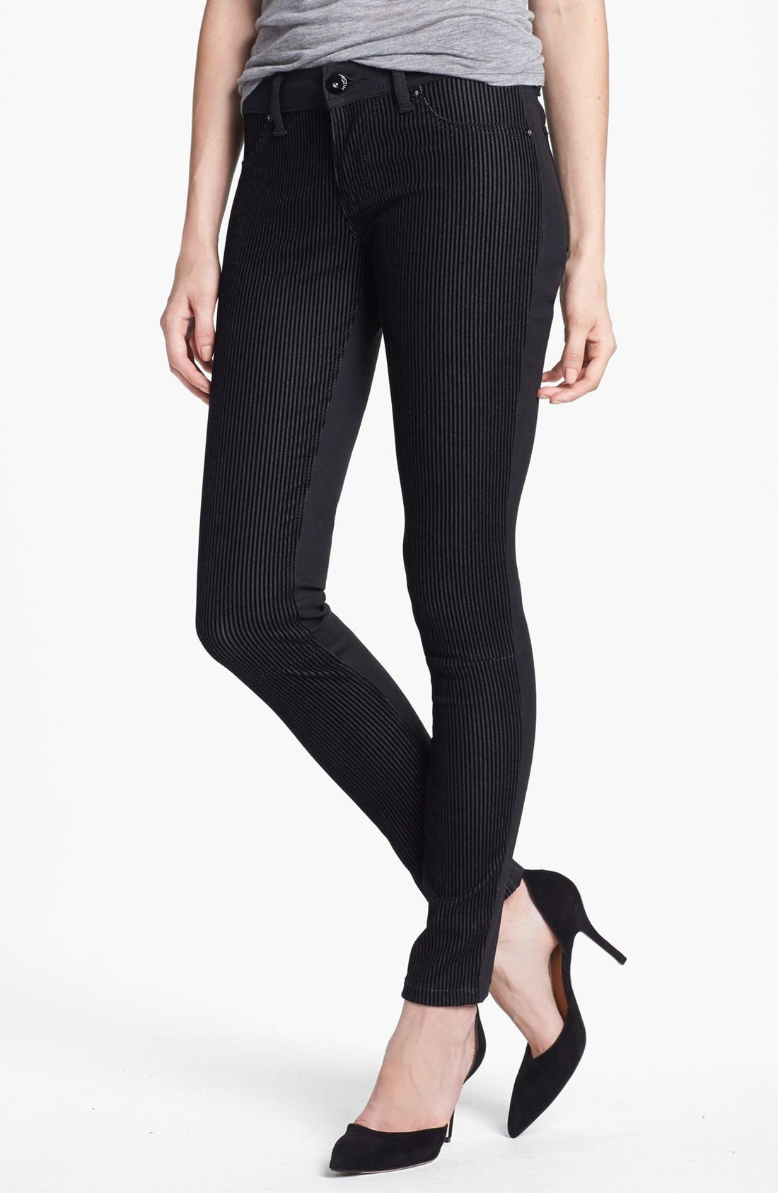 Main Image - DL1961 'Emma' Textured Stripe Skinny Jeans (Pandora)