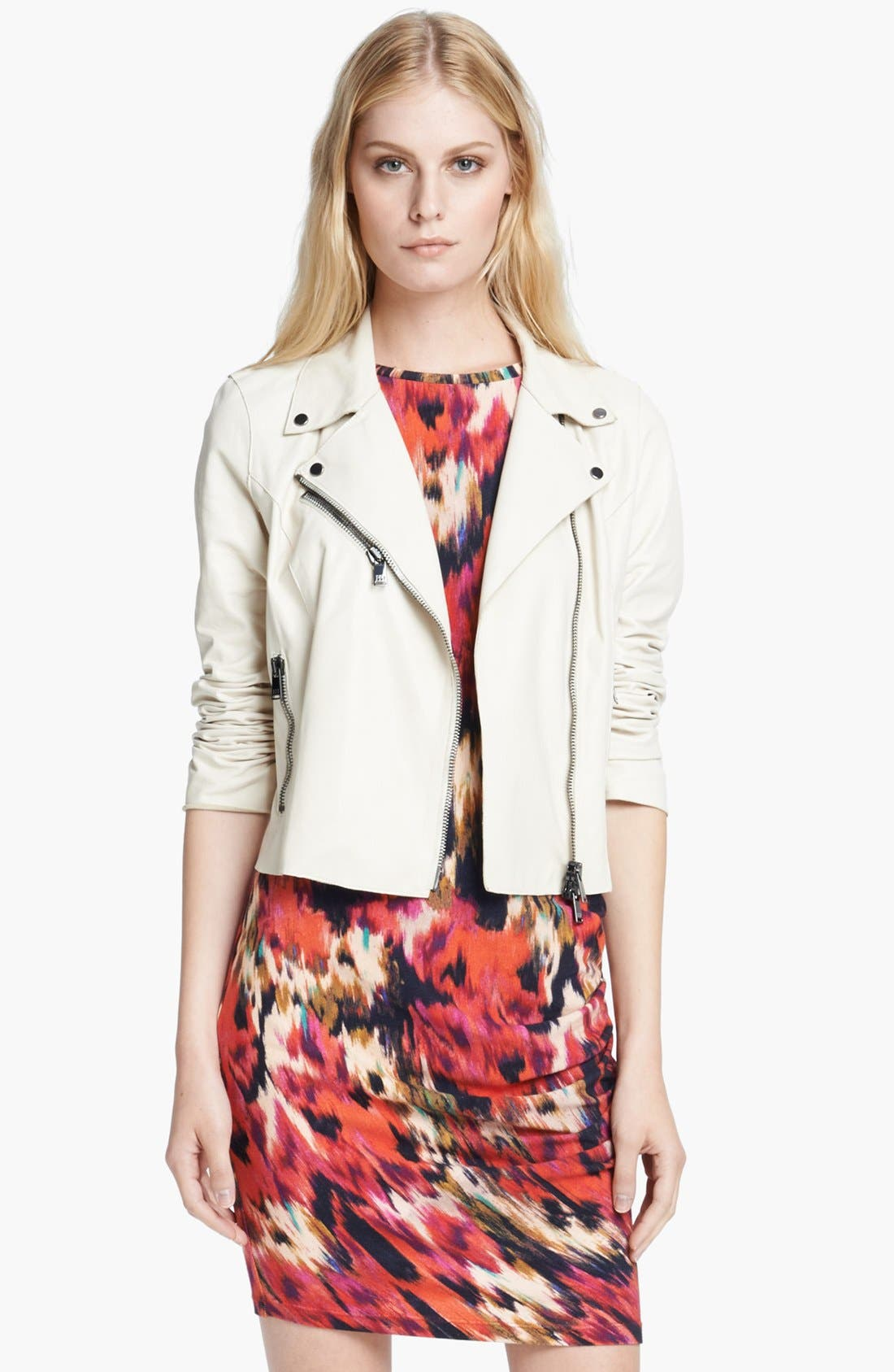 Alternate Image 1 Selected - Haute Hippie Crop Leather Moto Jacket
