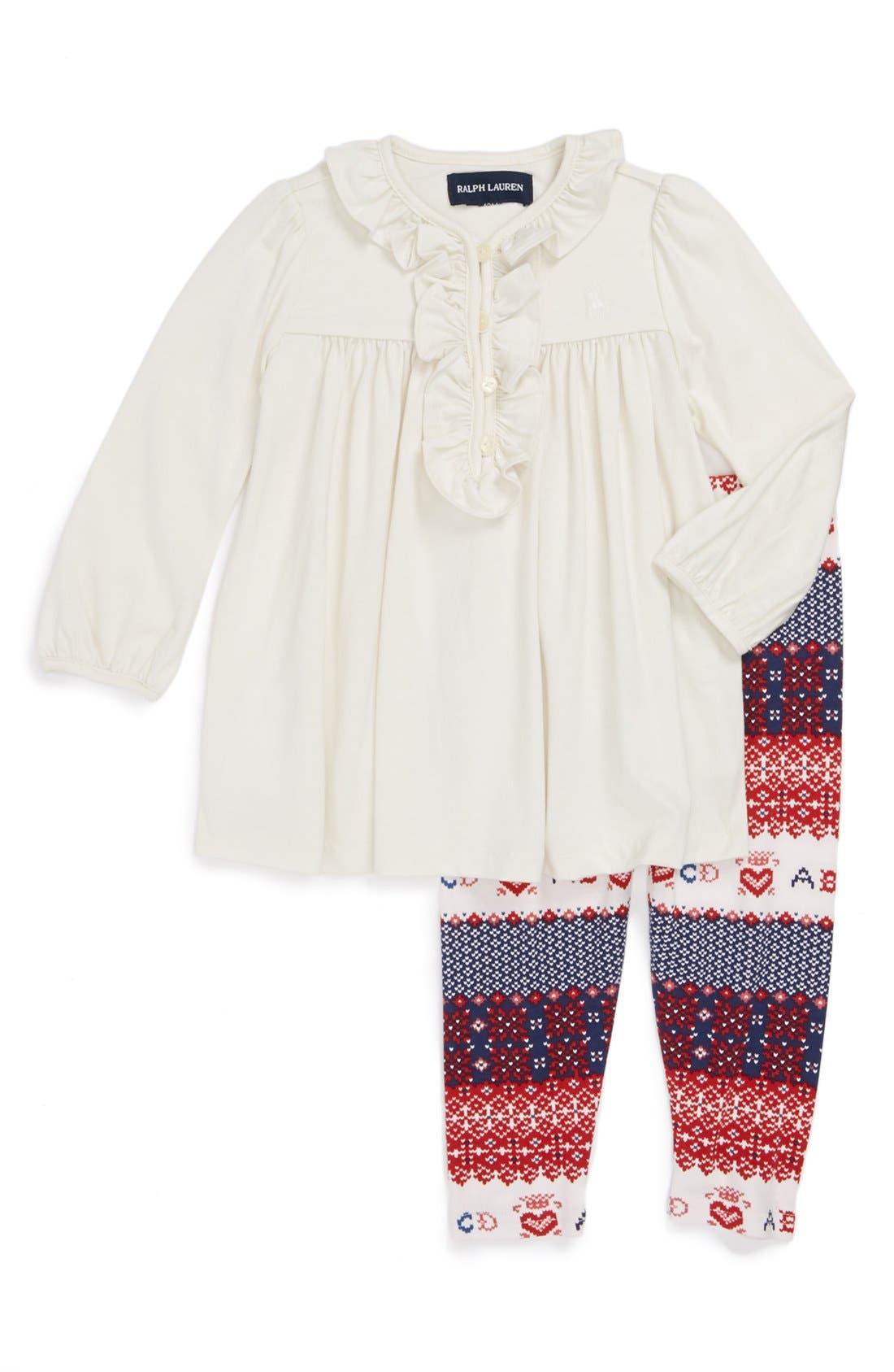 Alternate Image 1 Selected - Ralph Lauren Tunic & Print Leggings (Baby Girls)