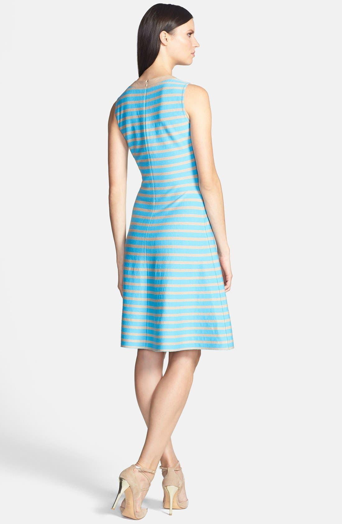 Alternate Image 2  - St. John Collection Stripe Milano Knit Fit & Flare Dress