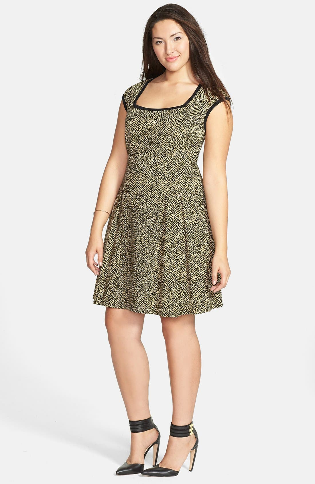 Alternate Image 1 Selected - Eight Sixty Jacquard Skater Dress (Plus Size)