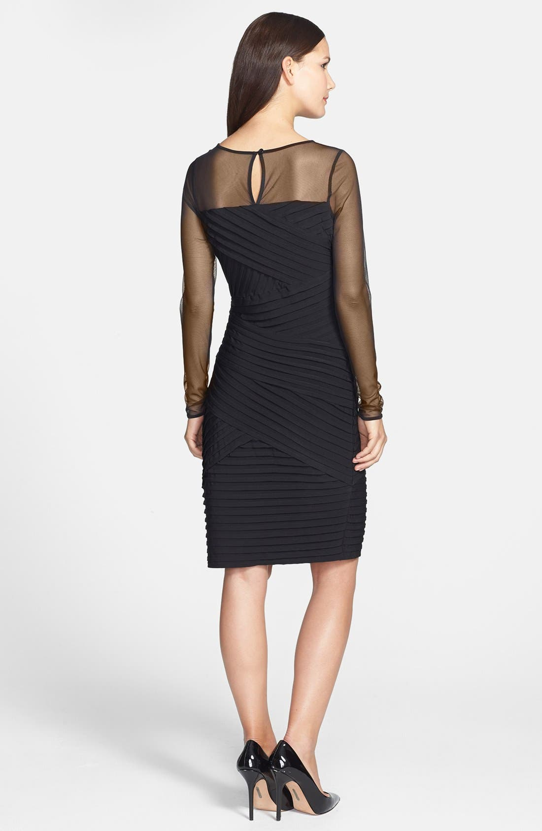 Alternate Image 2  - Calvin Klein Mesh Yoke & Pleat Jersey Sheath Dress