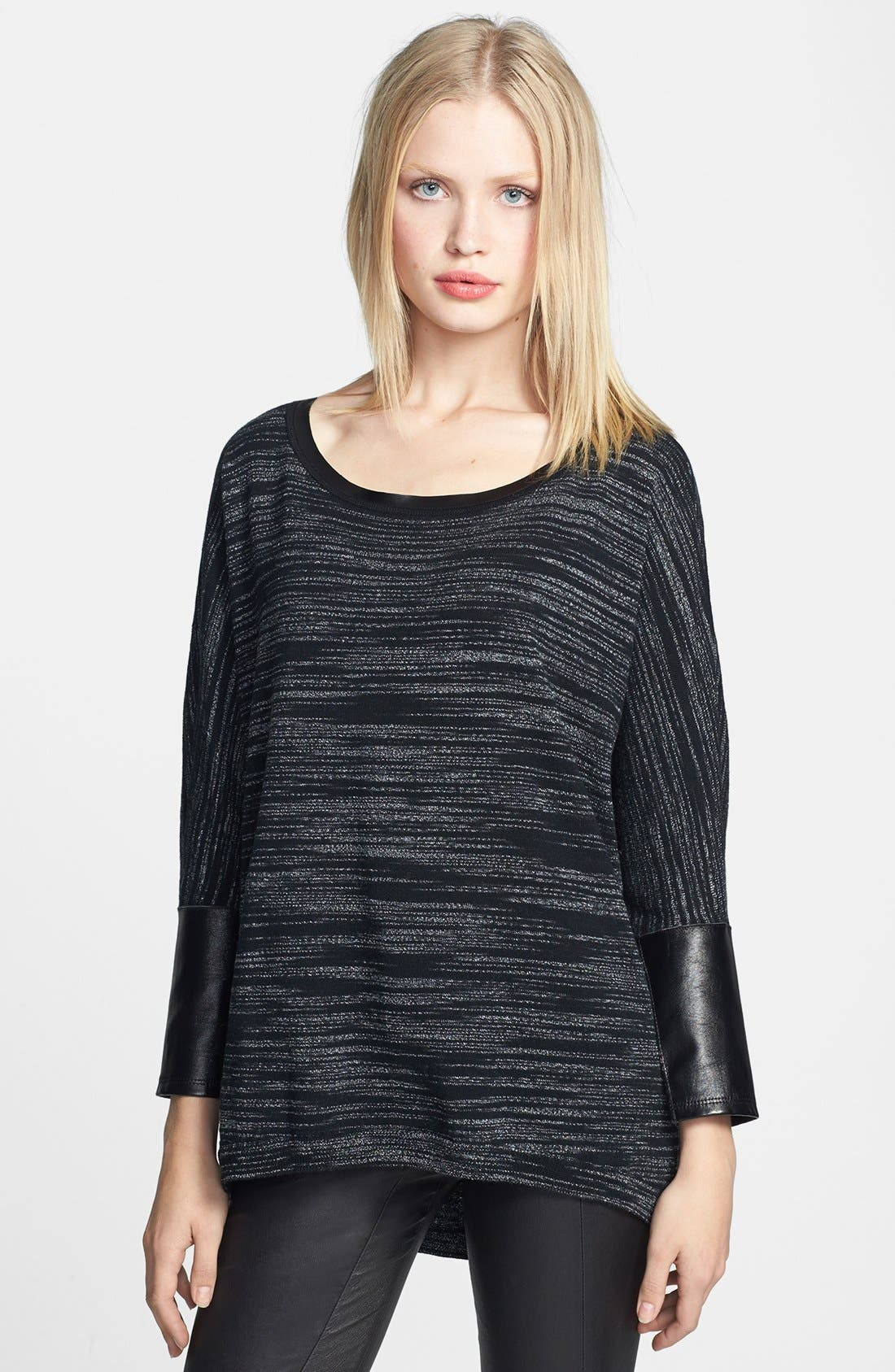 Main Image - Trouvé Faux Leather Trim Marled Sweater