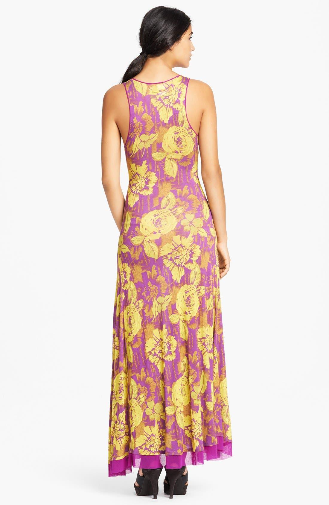 Alternate Image 2  - Jean Paul Gaultier Rose Print Racerback Jersey Maxi Dress
