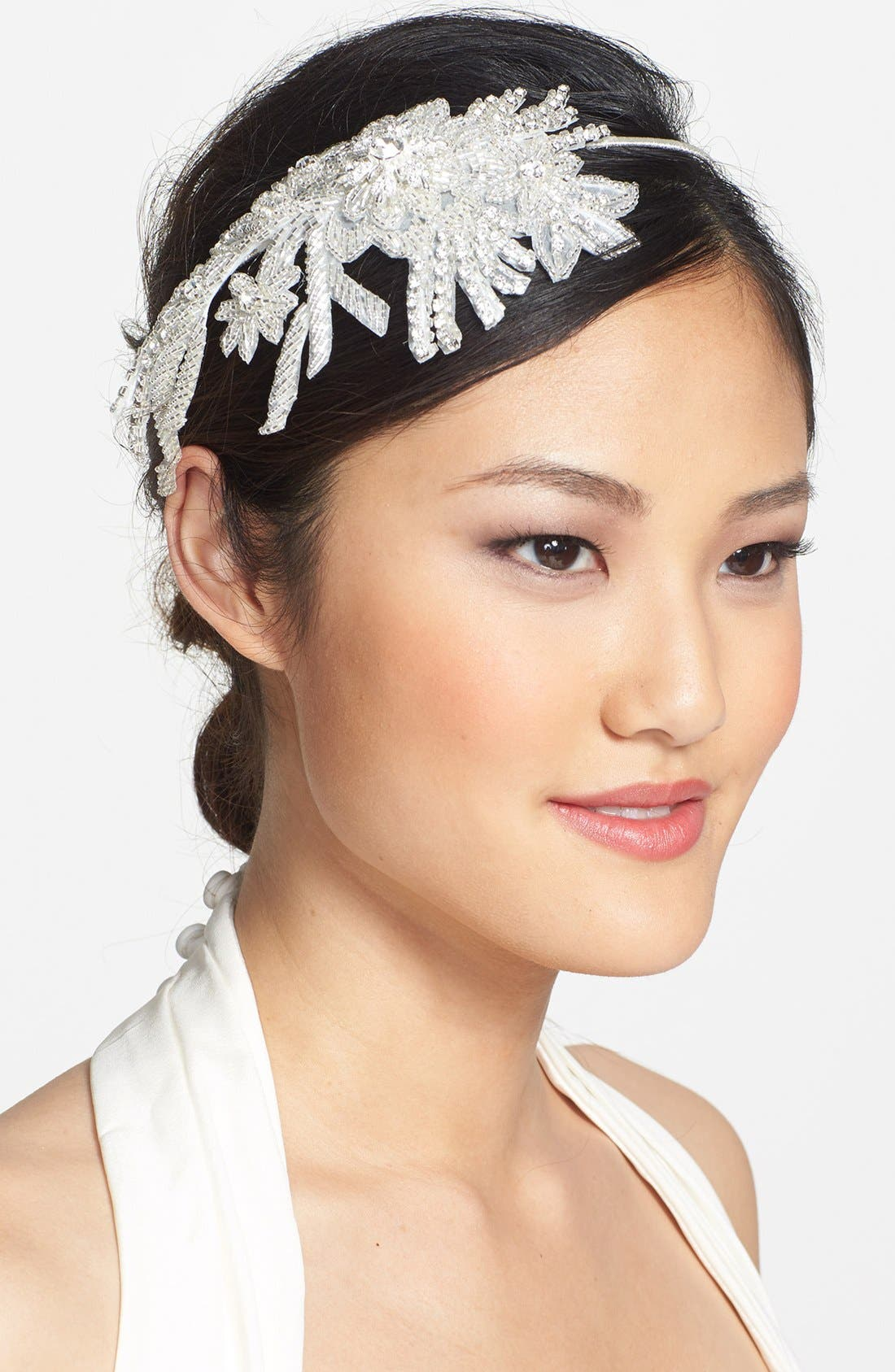 Main Image - Wedding Belles New York 'Colleen' Faux Pearl & Crystal Mélange Headband