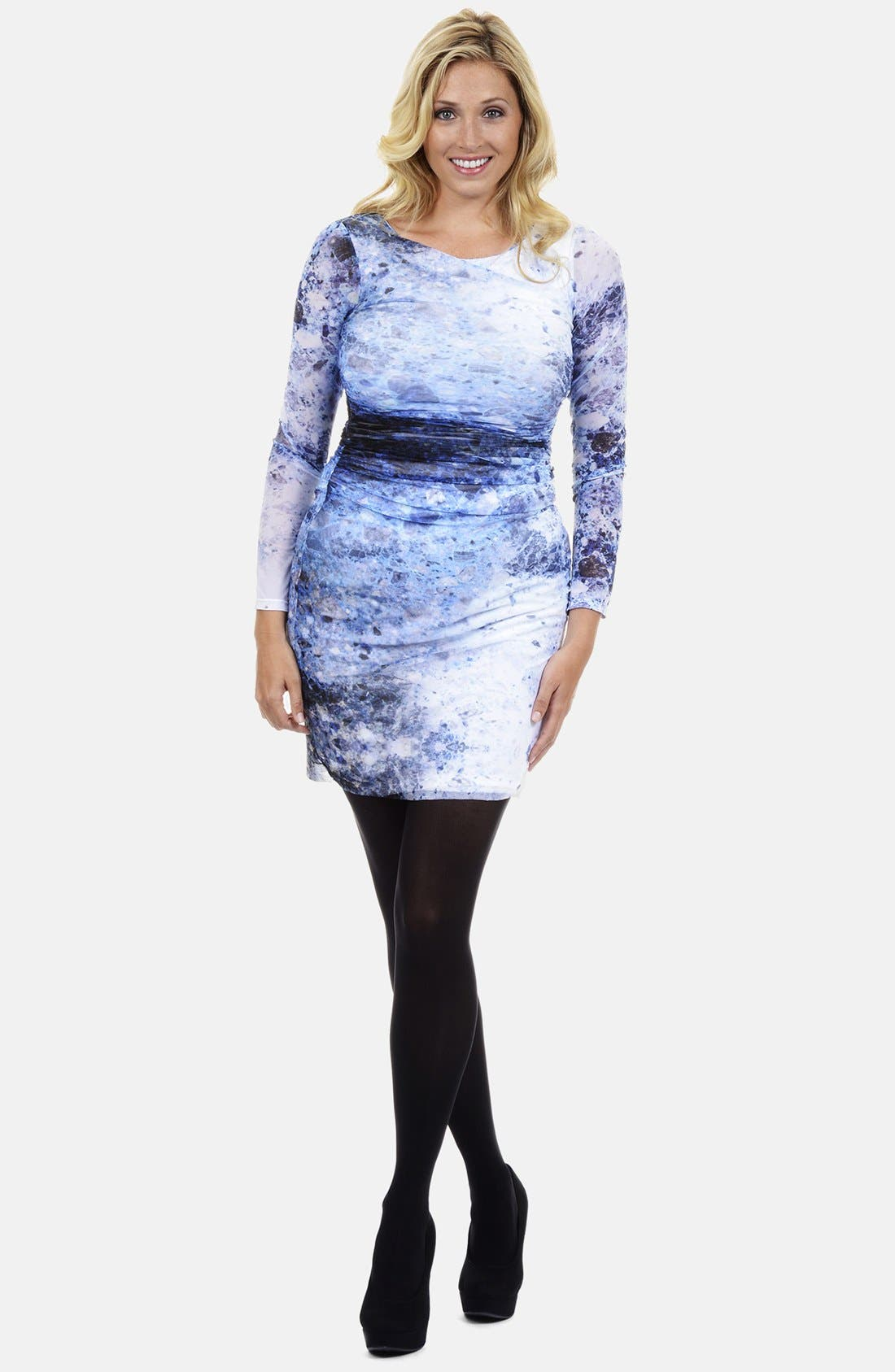 Alternate Image 1 Selected - Kay Unger Print Side Ruche Sheath Dress
