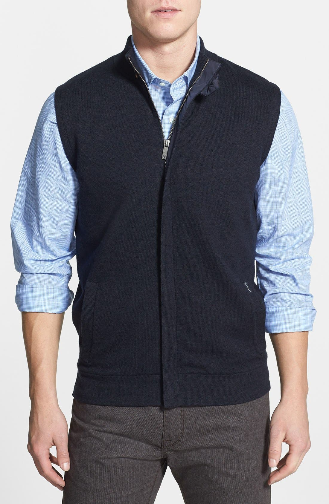 Alternate Image 1 Selected - Façonnable Sweater Wool & Cotton Vest