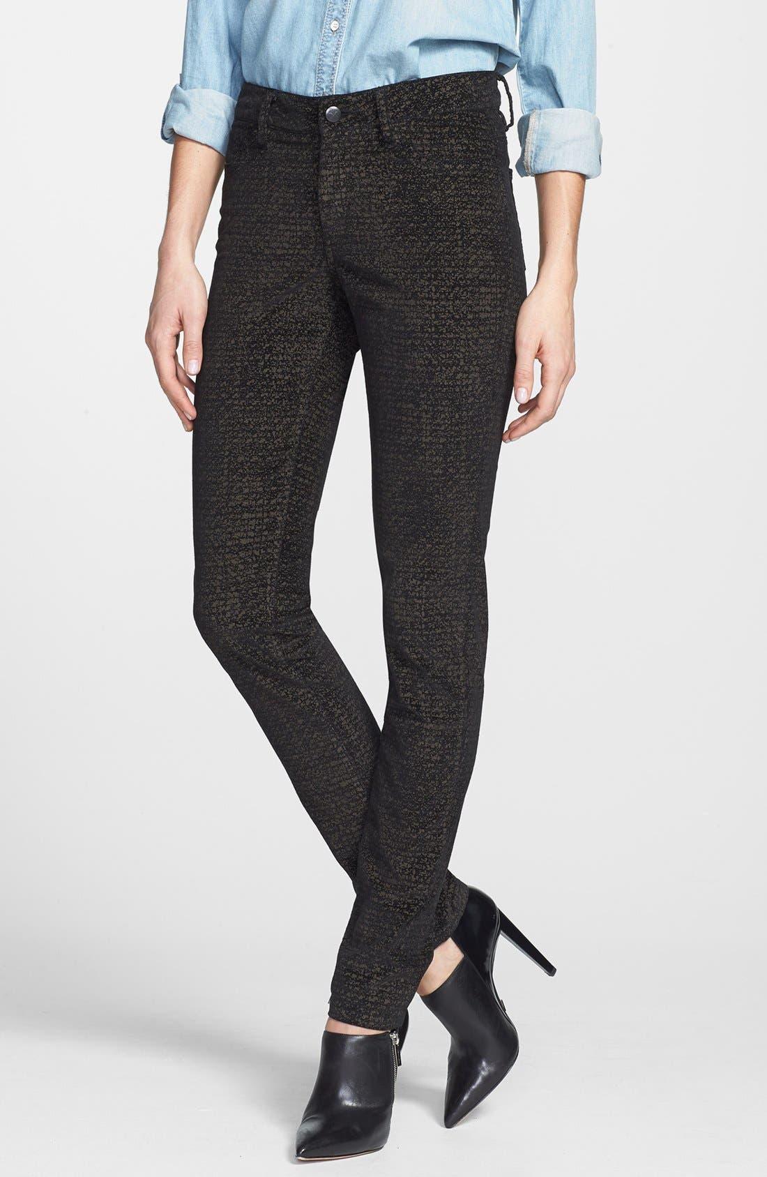 Main Image - Christopher Blue 'Sophia' Velvet Skinny Jeans (Black/Gold)