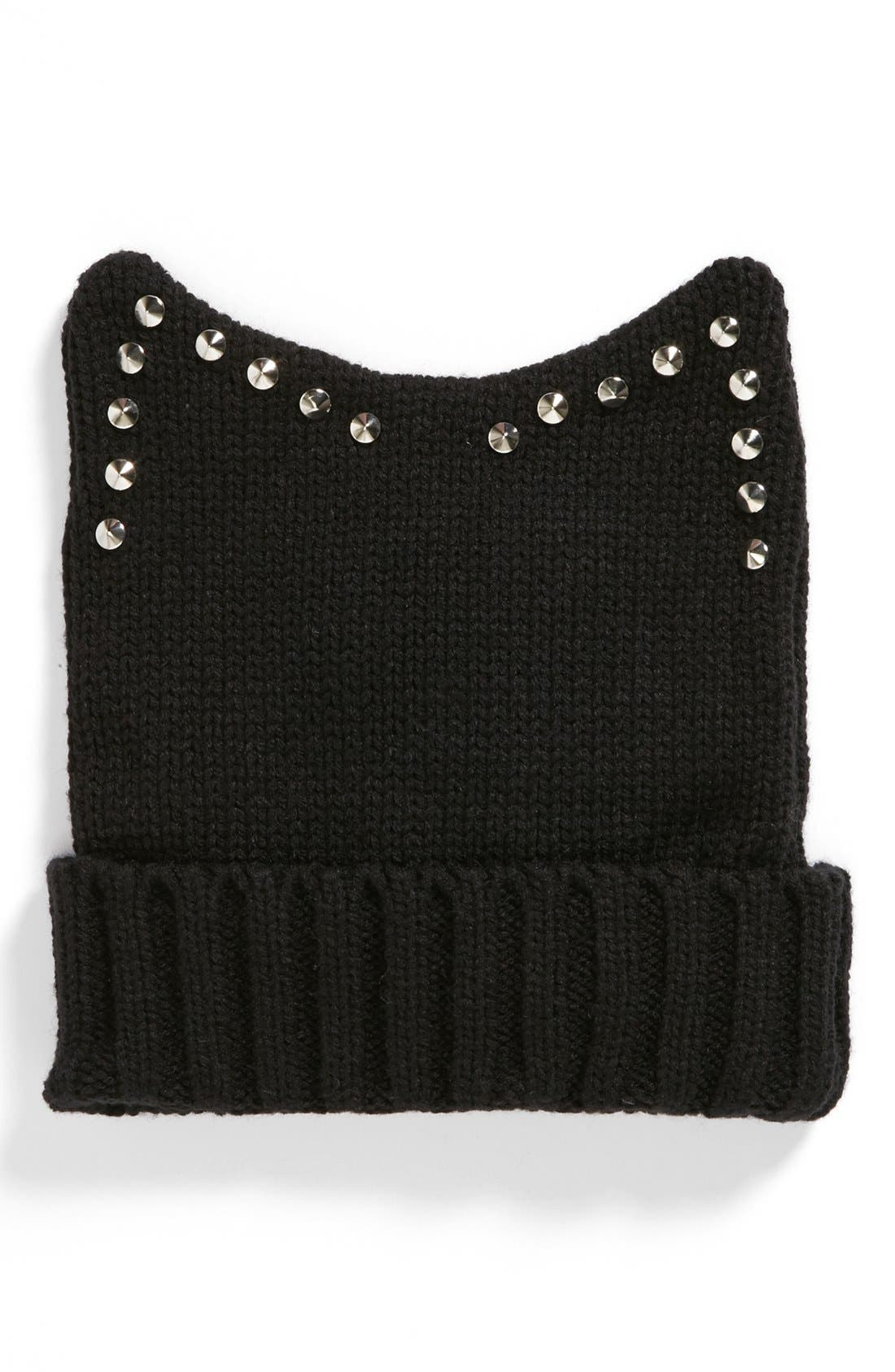 Main Image - The Accessory Collective Cat Ears Knit Beanie (Girls)