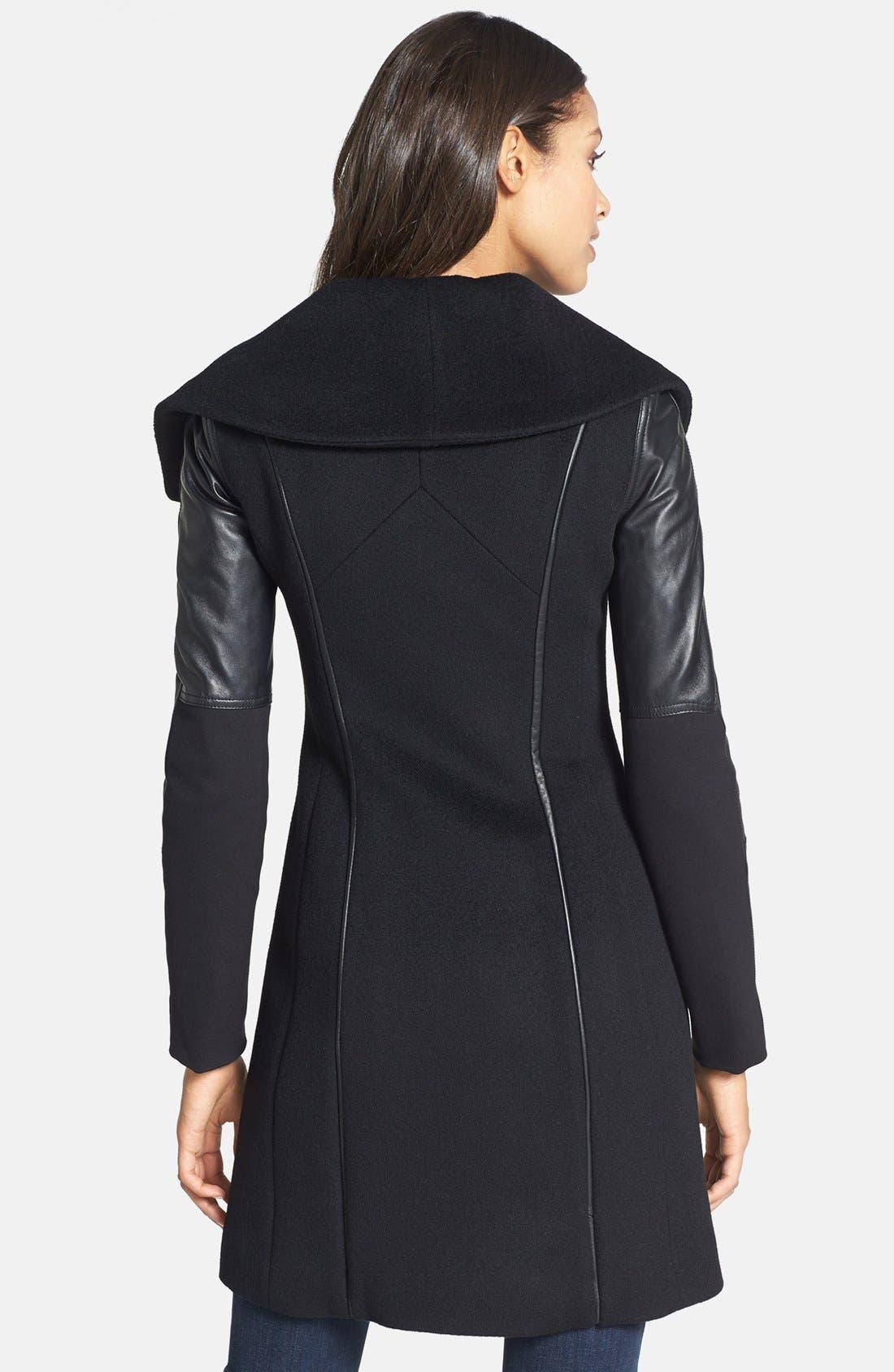 Alternate Image 2  - Dawn Levy 'Serena' Leather Sleeve Asymmetrical Wool Coat