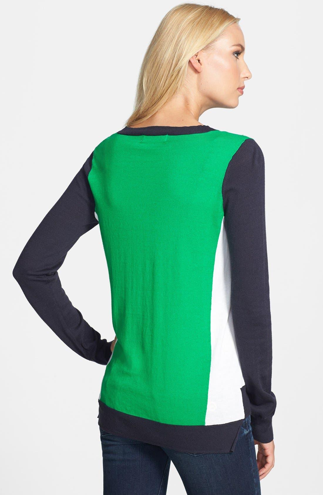 Alternate Image 2  - MICHAEL Michael Kors Colorblock Cotton Blend Crewneck Sweater