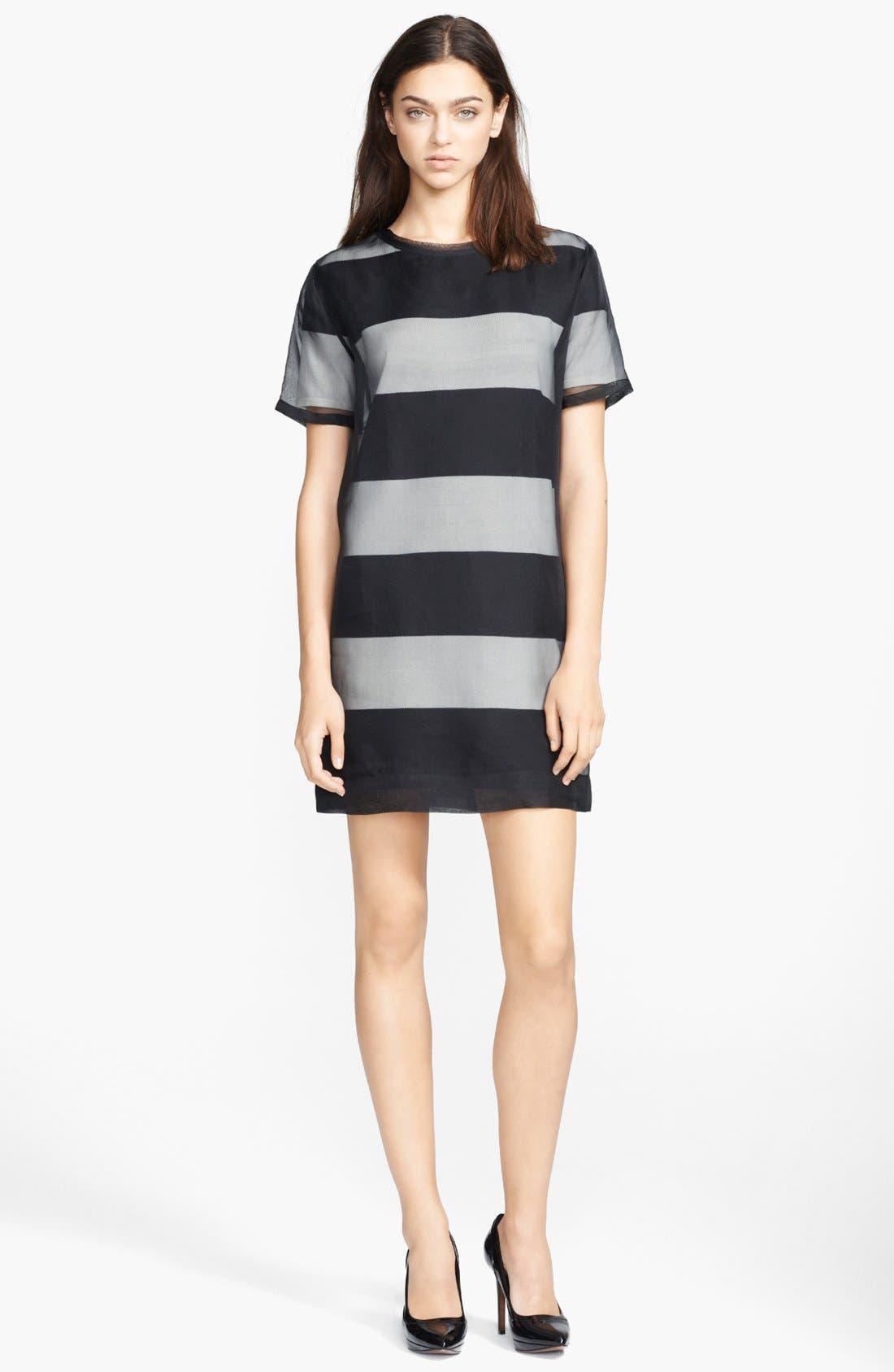 Main Image - T by Alexander Wang Organza Overlay Stripe T-Shirt Dress