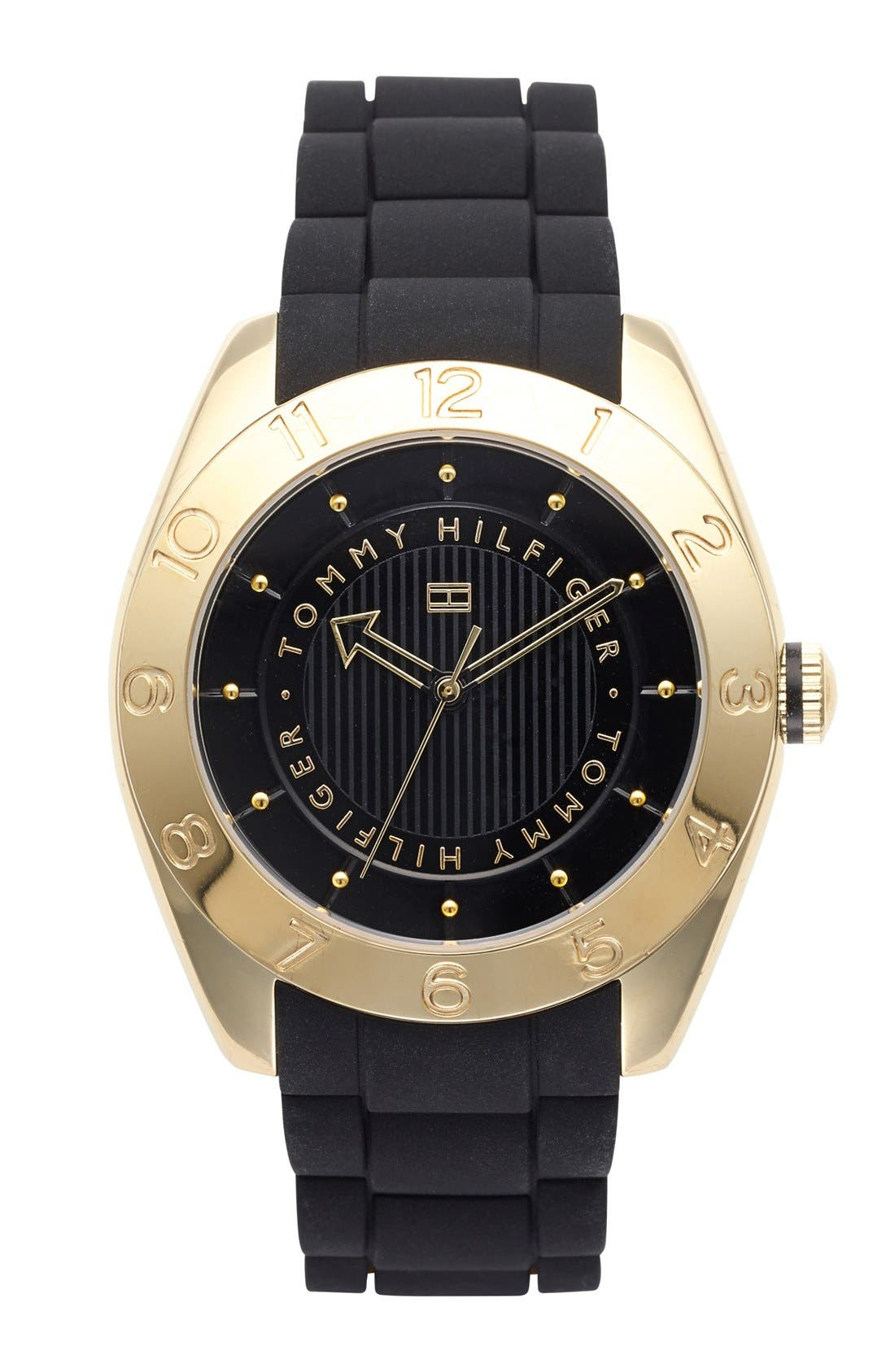 Main Image - Tommy Hilfiger Round Silicone Strap Watch, 40mm