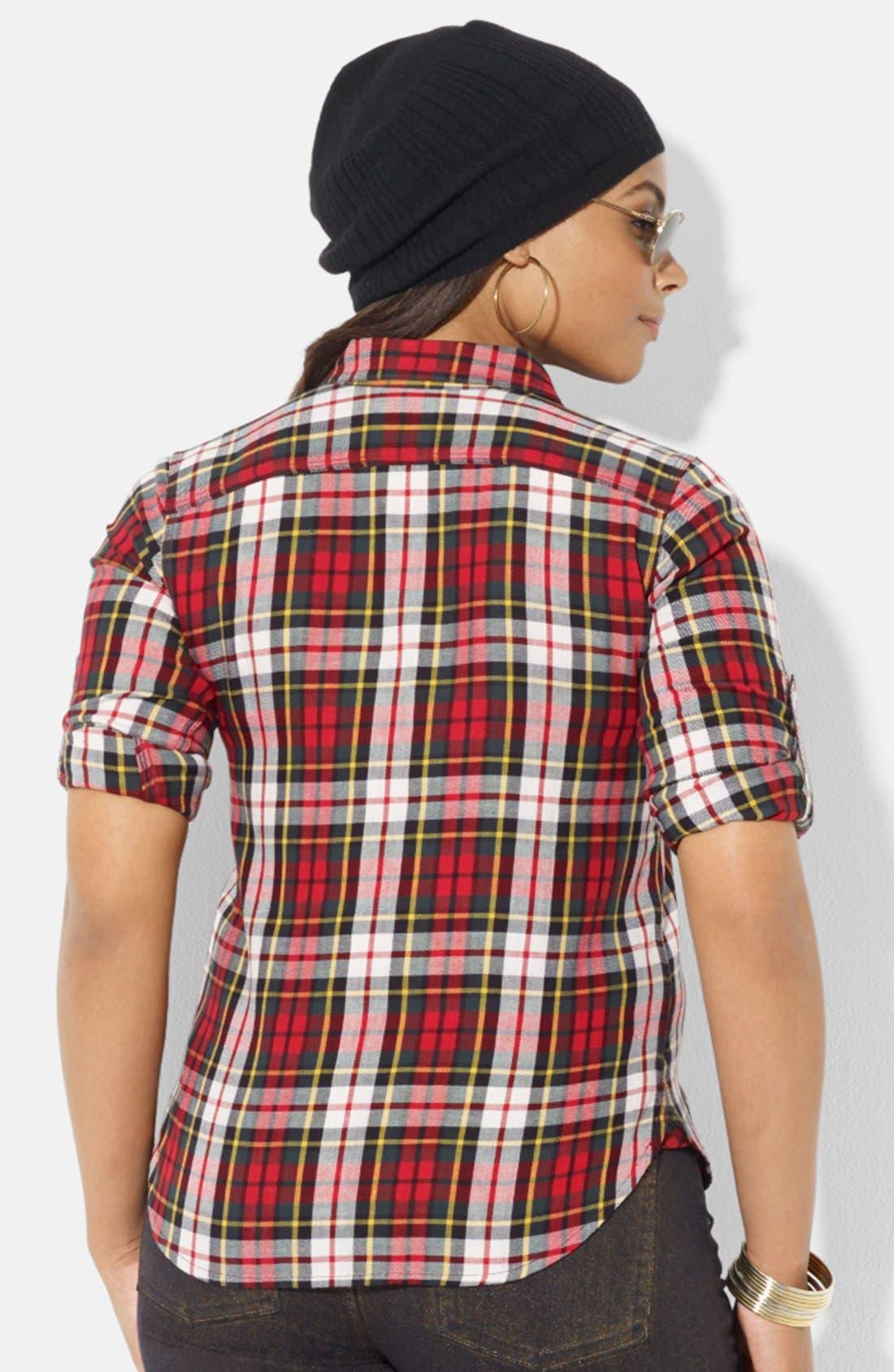 Alternate Image 2  - Lauren Ralph Lauren Plaid Work Shirt (Plus Size)