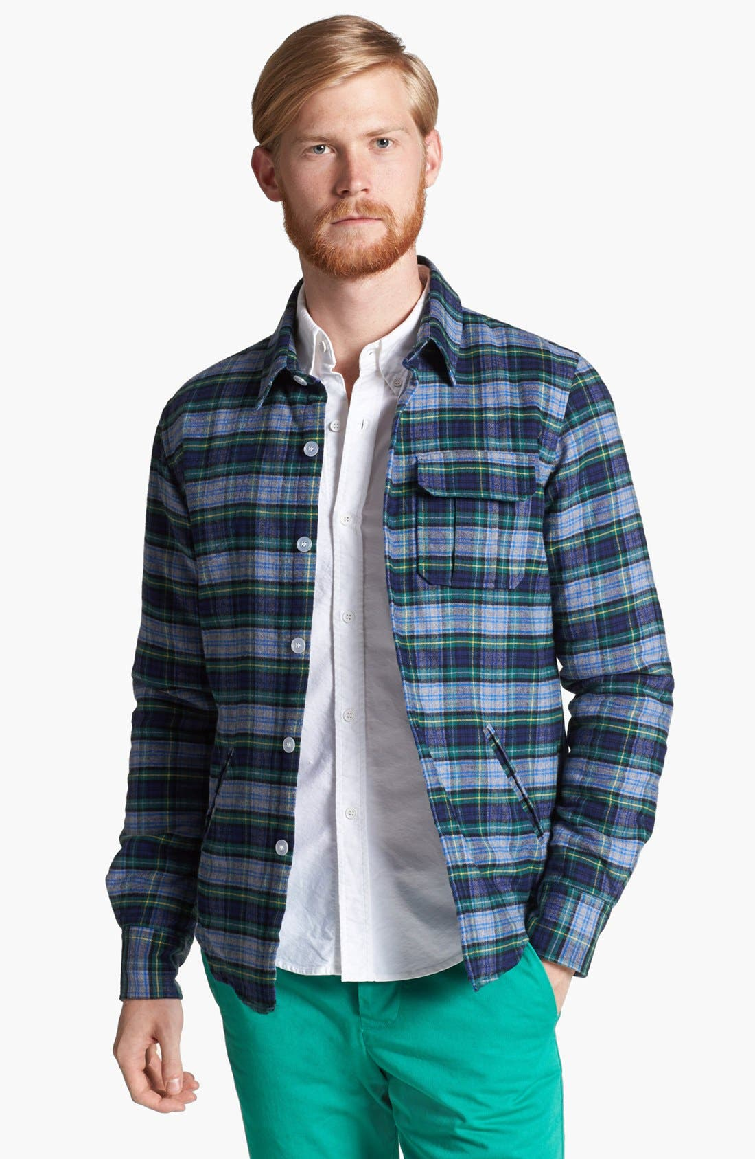 Alternate Image 1 Selected - Band of Outsiders Lightweight Plaid Cotton Flannel Jacket