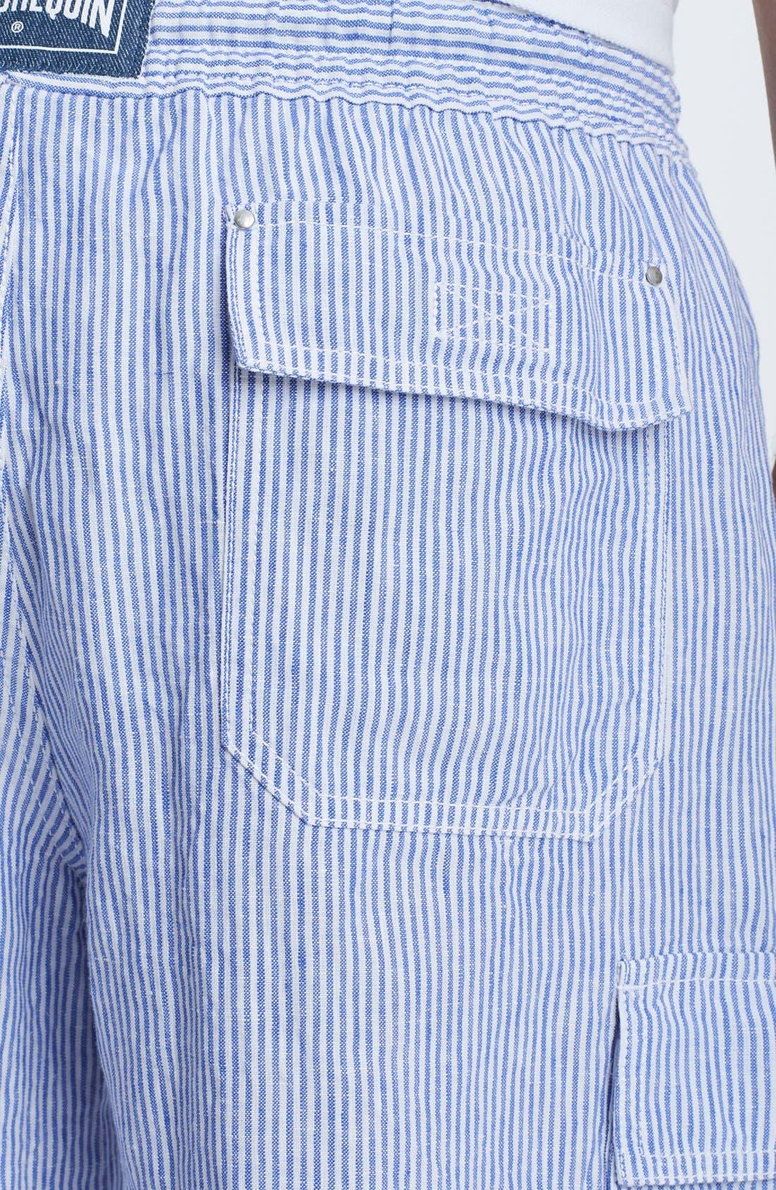Alternate Image 3  - Vilebrequin 'Berrix' Stripe Linen Cargo Shorts