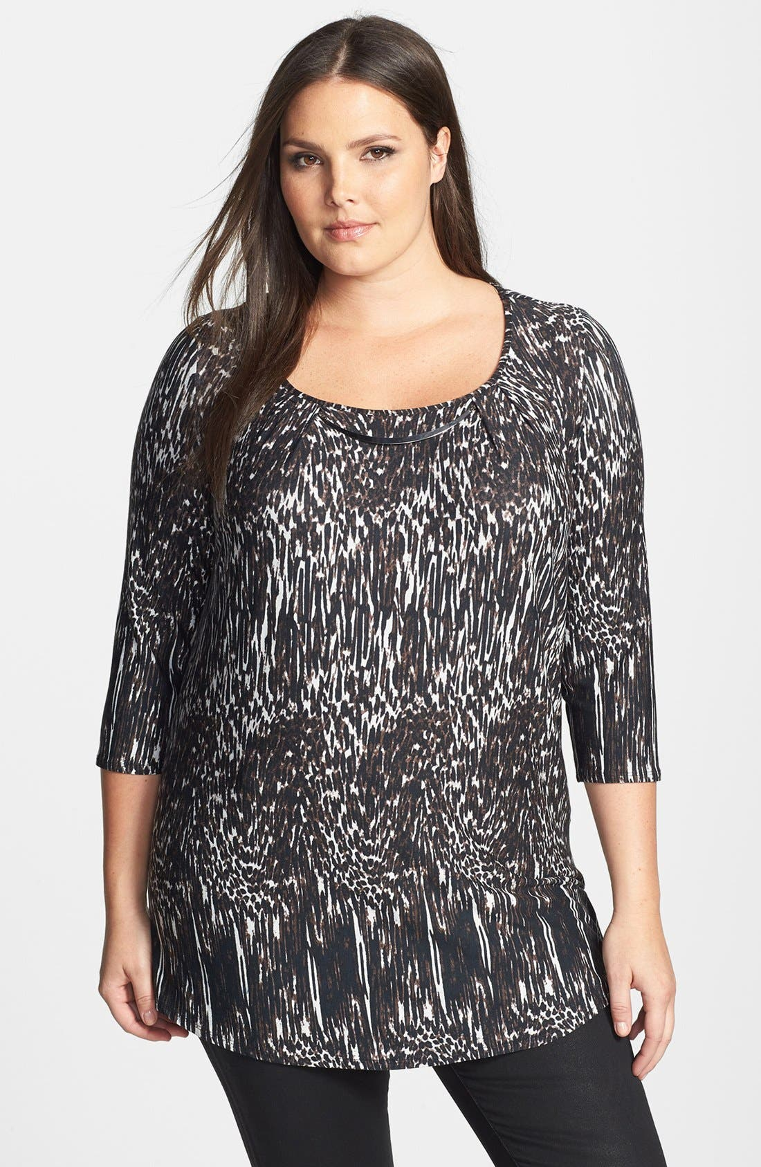 Alternate Image 1 Selected - Evans Bar Trim Animal Print Top (Plus Size)