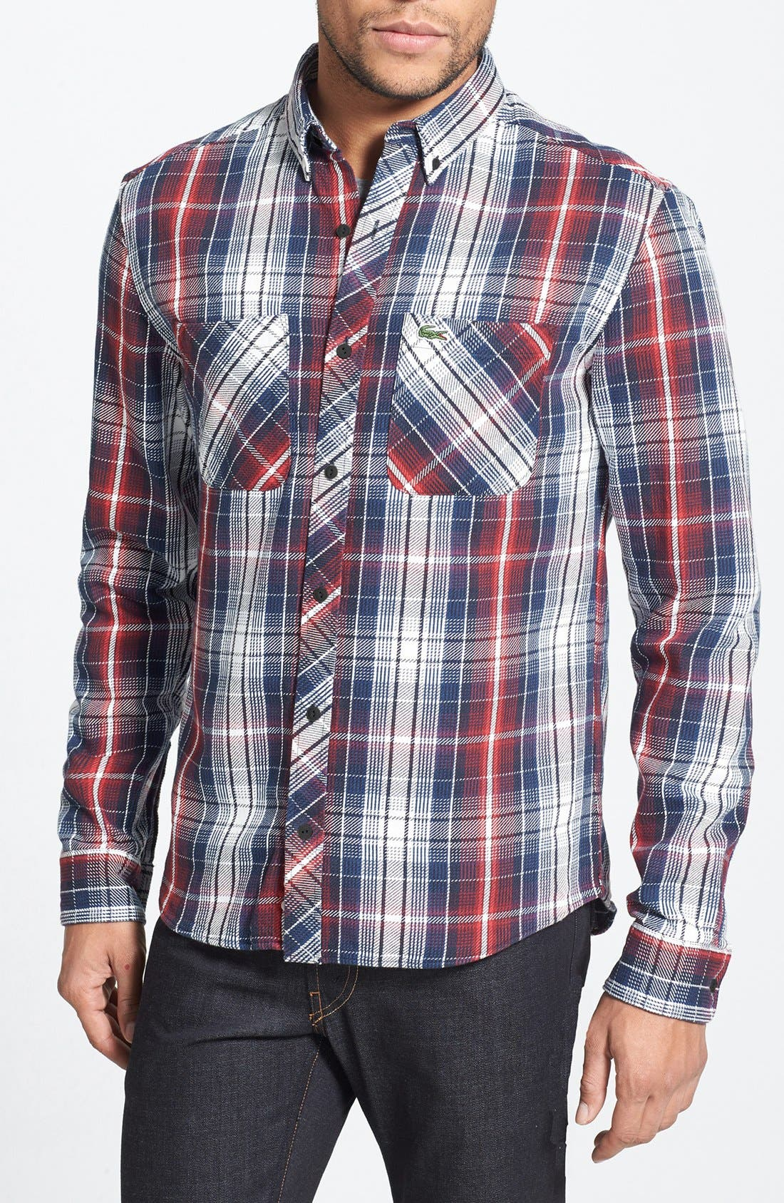 Alternate Image 1 Selected - Lacoste L!VE Plaid Twill Shirt