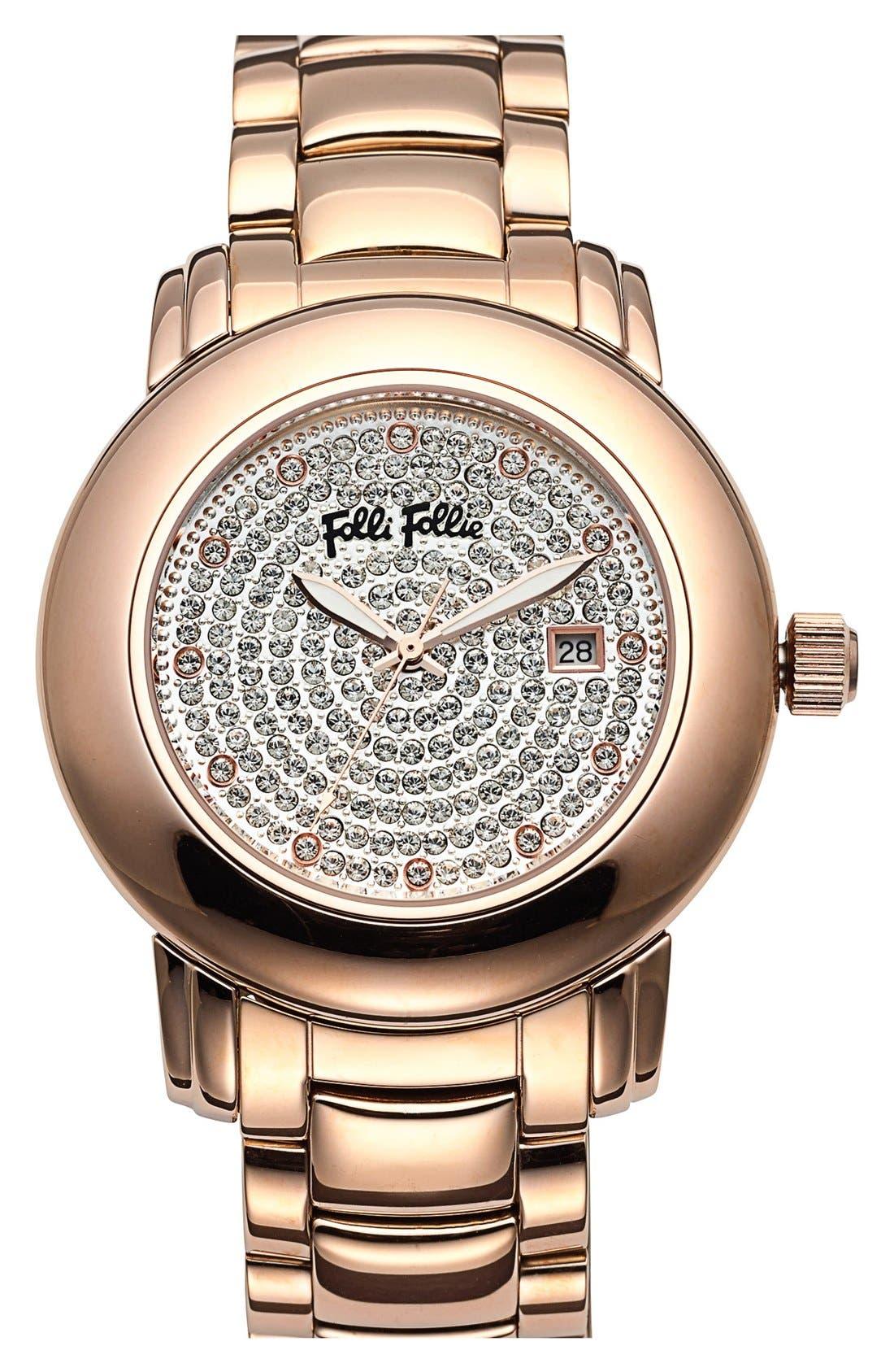 Main Image - Folli Follie 'Urban Spin' Crystal Dial Bracelet Watch, 43mm