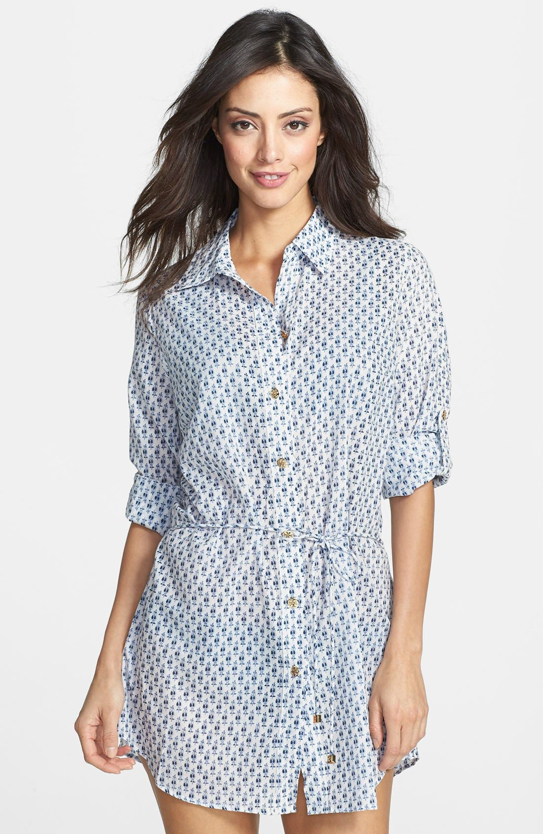 Main Image - Tory Burch 'Boria' Belted Tunic Cover-Up