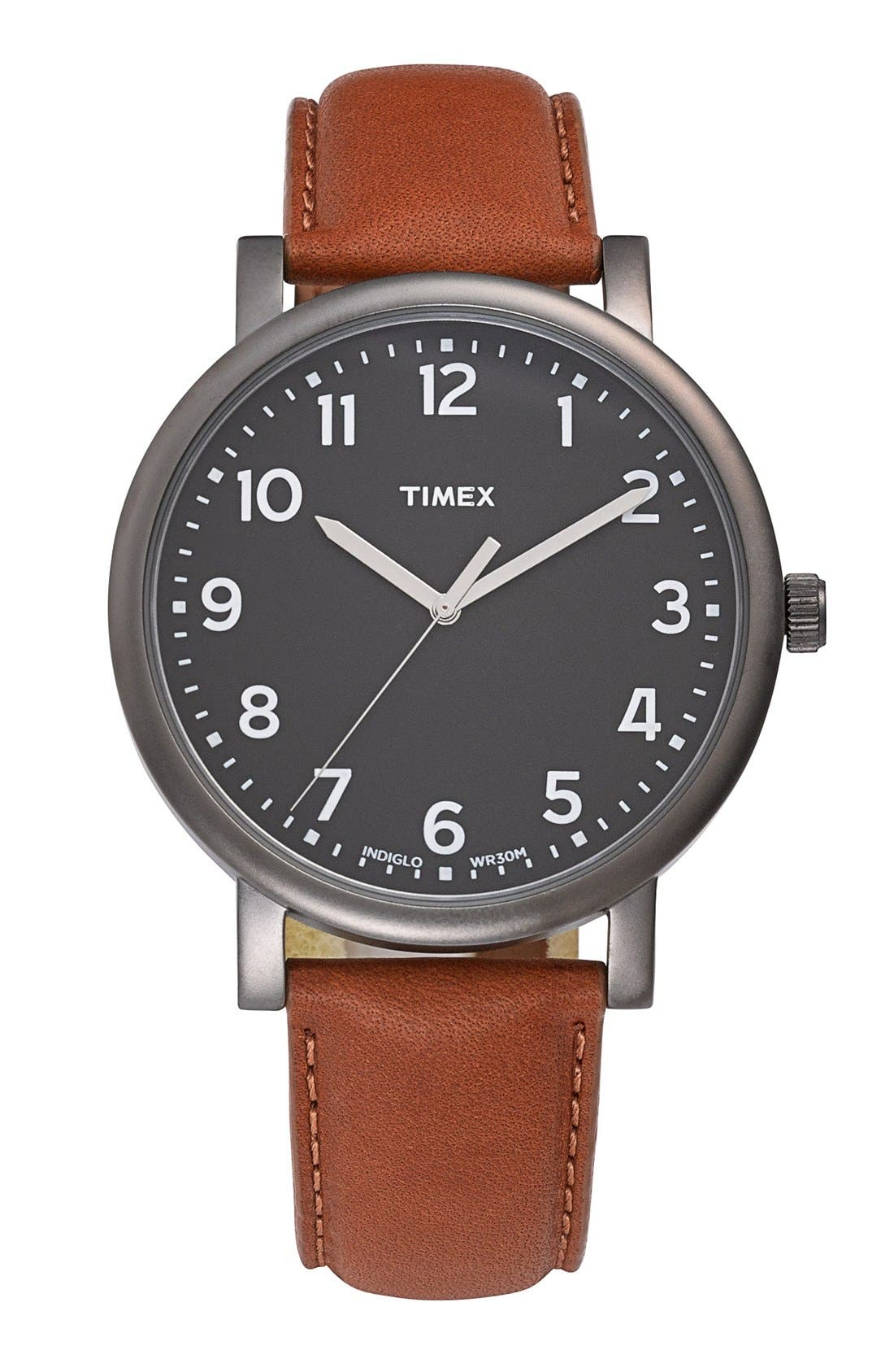 Main Image - Timex® Round Leather Strap Watch, 42mm