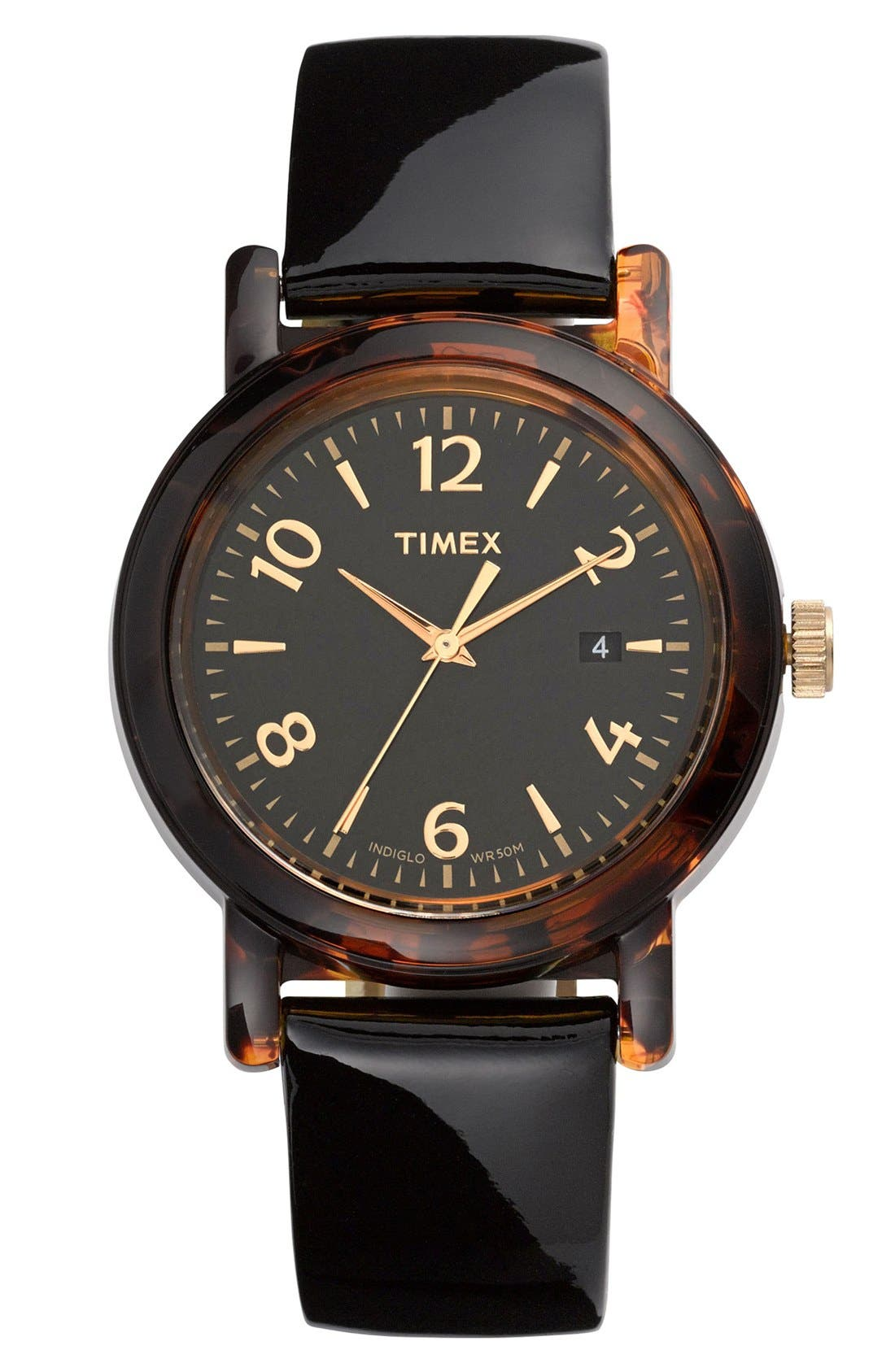Main Image - Timex® Round Patent Leather Strap Watch, 40mm