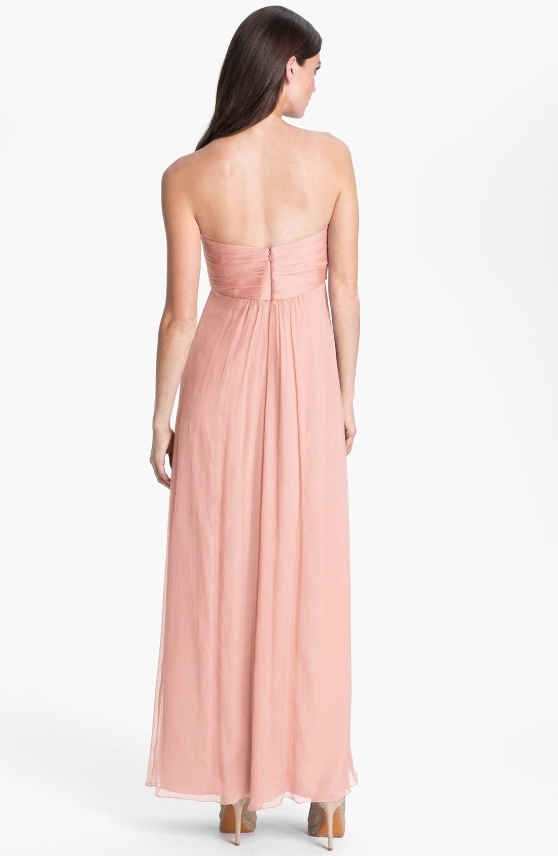 Alternate Image 2  - Amsale Ruffle Trim Chiffon Halter Gown