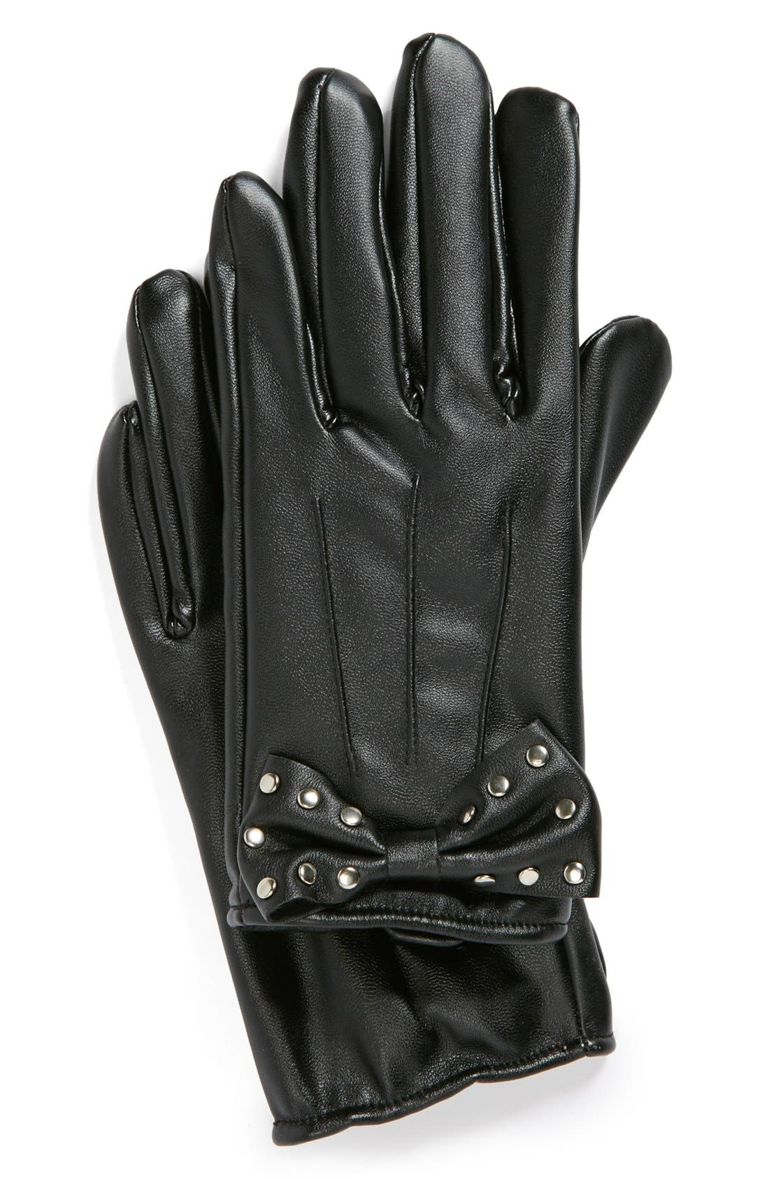 Alternate Image 1 Selected - Lulu Studded Bow Faux Leather Gloves (Juniors)