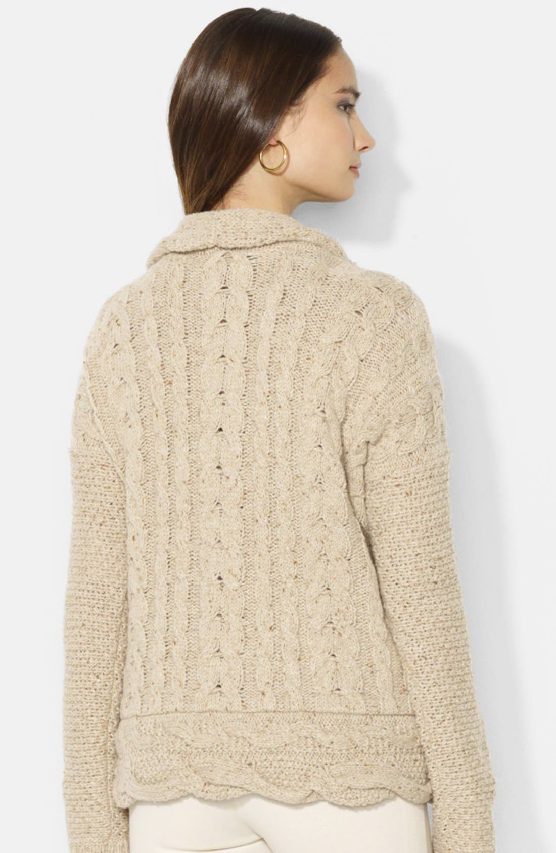 Alternate Image 2  - Lauren Ralph Lauren Shawl Collar Cable Knit Cardigan (Petite)