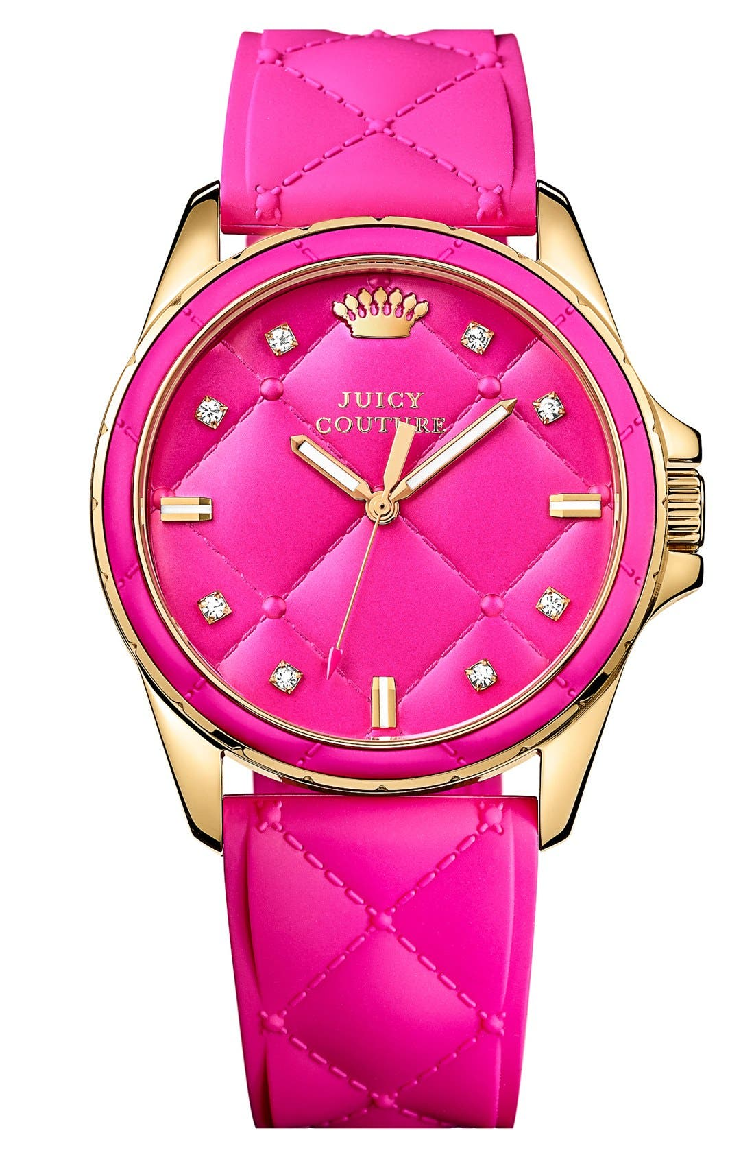 Alternate Image 1 Selected - Juicy Couture 'Stella' Round Silicone Strap Watch, 35mm