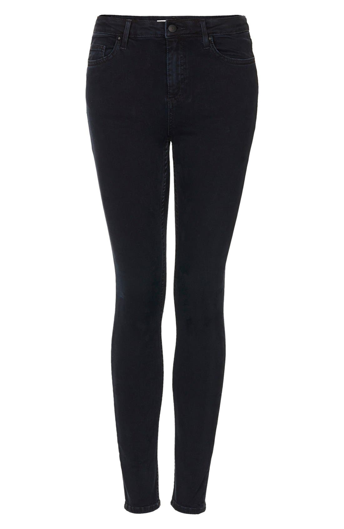 Alternate Image 3  - Topshop Moto 'Jamie' High Rise Crop Skinny Jeans (Navy Blue)