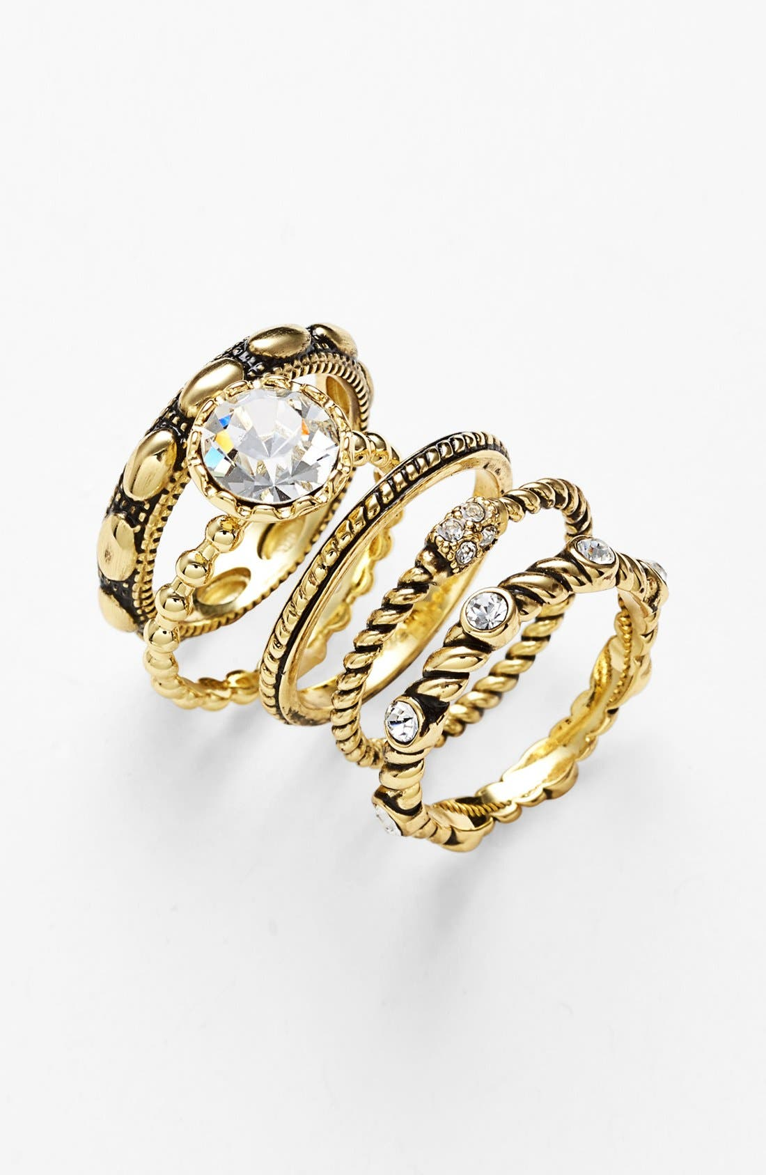 Main Image - Ariella Collection Cocktail Stack Rings (Set of 5)