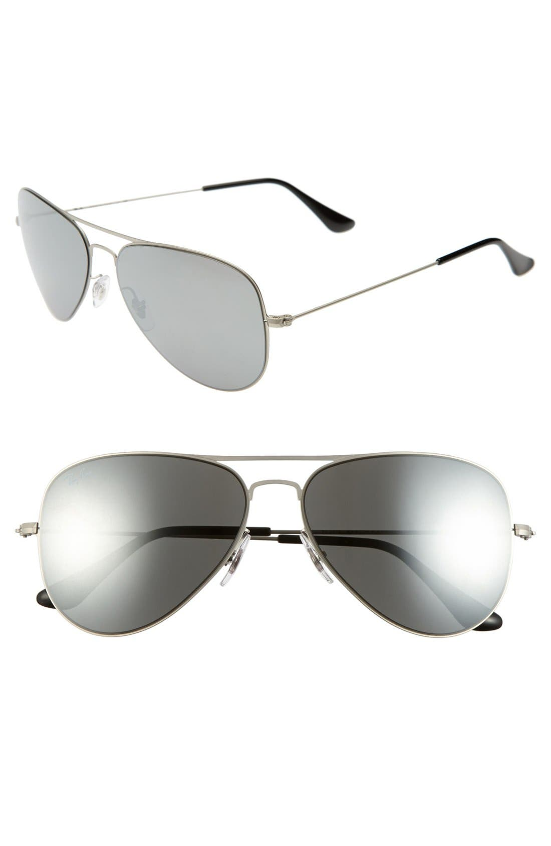Main Image - Ray-Ban 58mm Steel Aviator Sunglasses