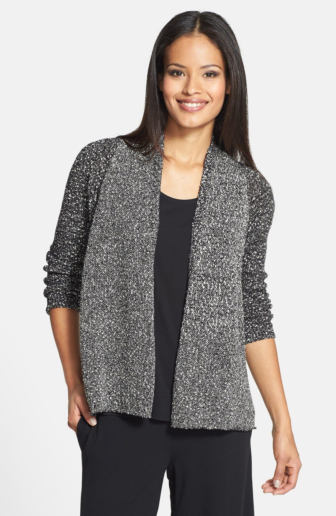 Alternate Image 1 Selected - Eileen Fisher Wrapped Cotton Shaped Cardigan