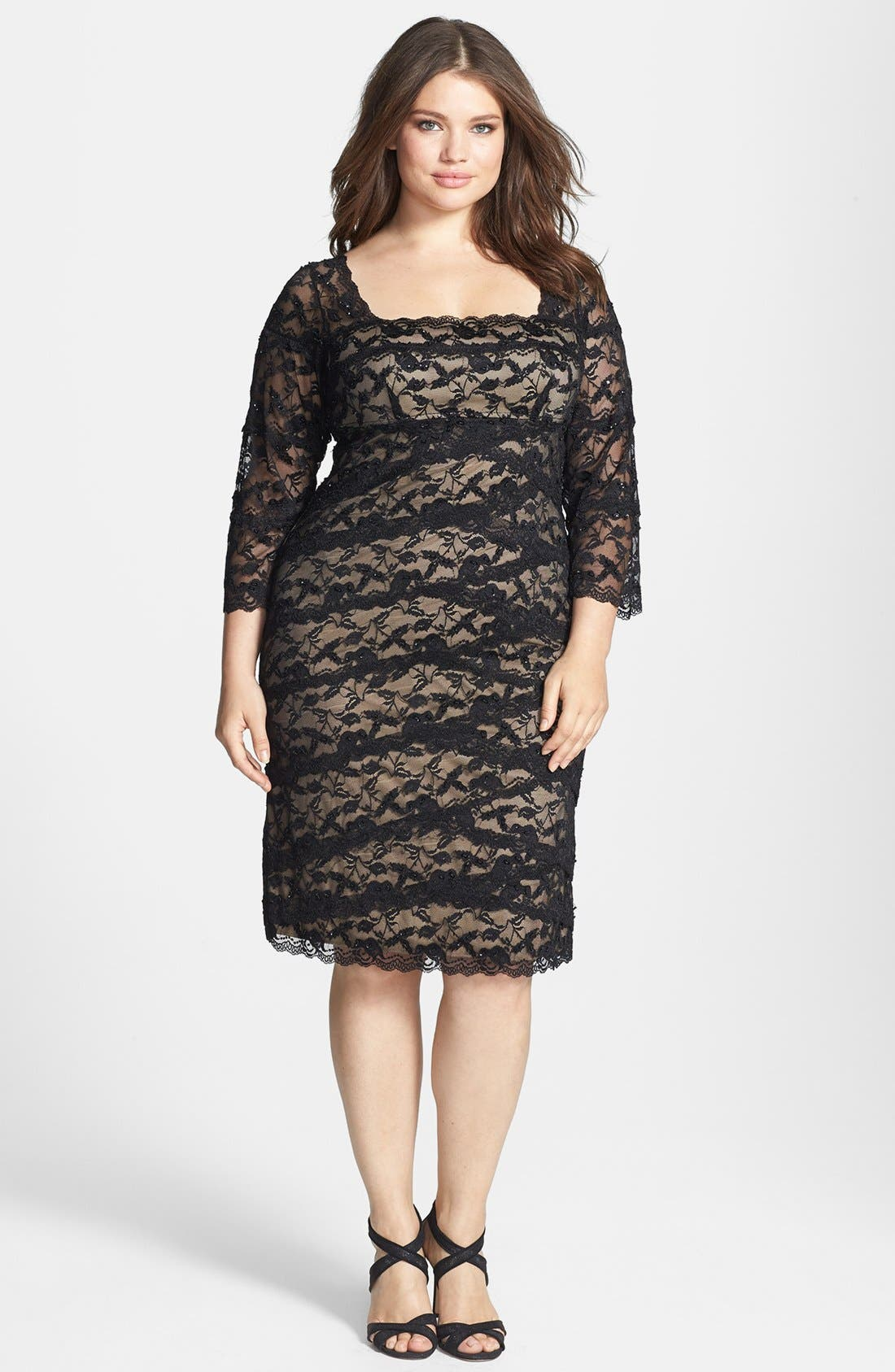 Alternate Image 1 Selected - Marina Tiered Lace Sheath Dress (Plus Size)