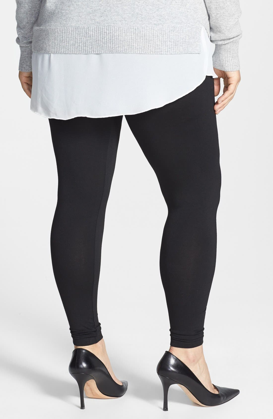 Alternate Image 2  - Evans Stretch Knit Leggings (Plus Size)