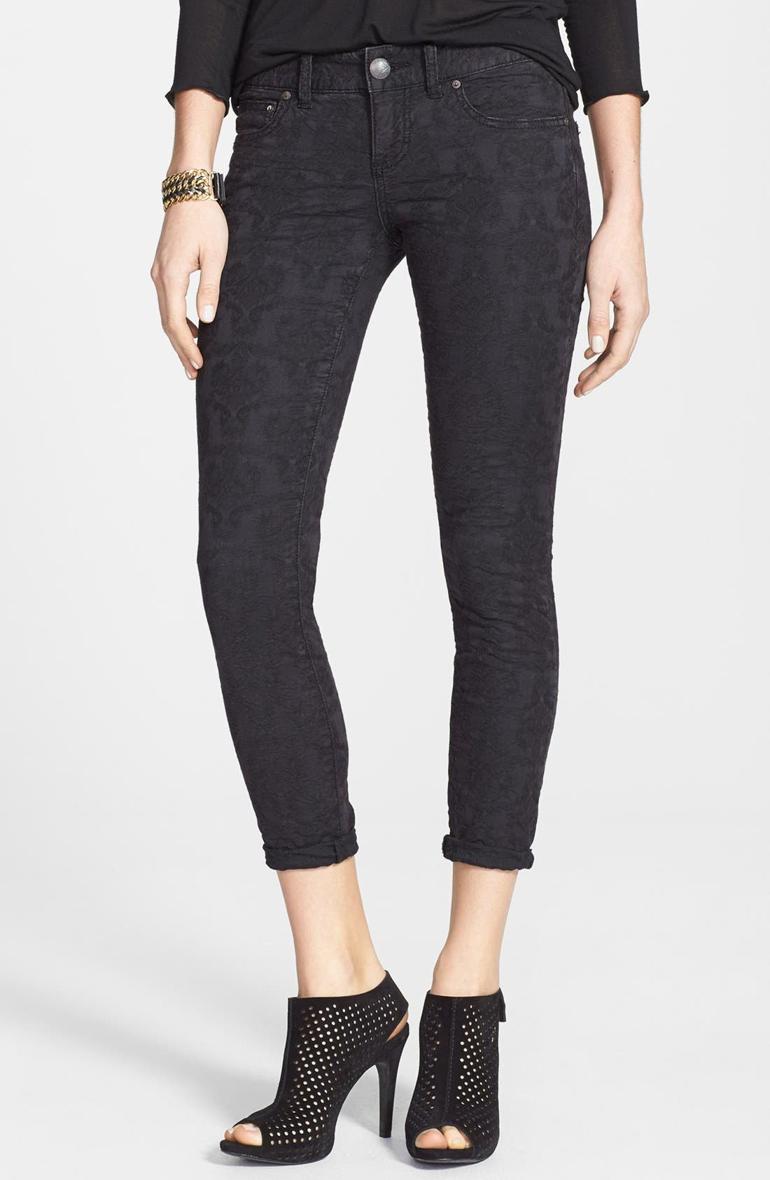 Alternate Image 1 Selected - Free People Jacquard Skinny Jeans (Cranberry)