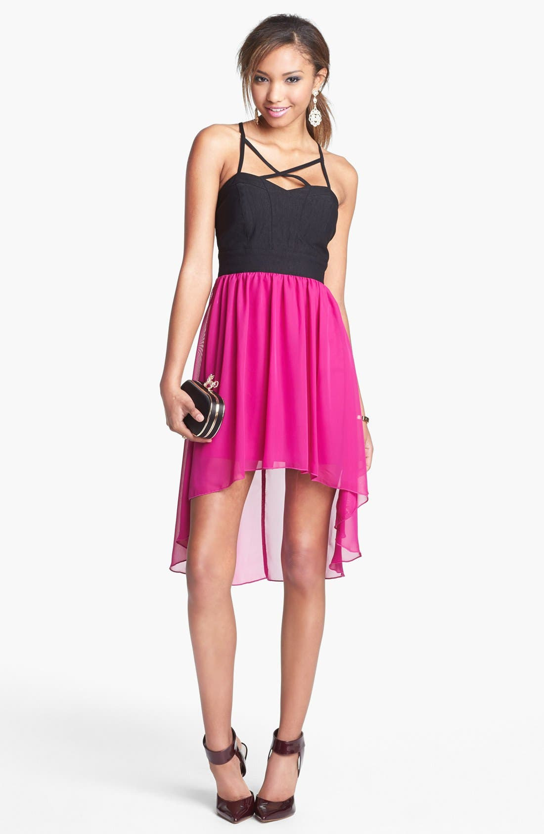 Alternate Image 1 Selected - Trixxi High/Low Chiffon Dress (Juniors) (Online Only)