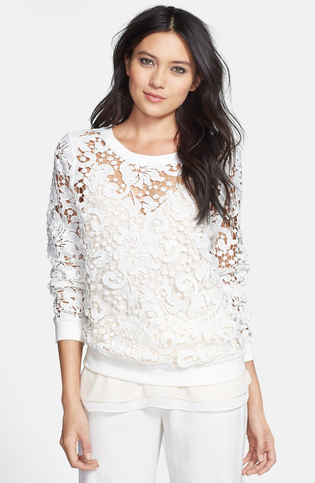 Alternate Image 1 Selected - Chelsea28 Embroidered Lace Pullover