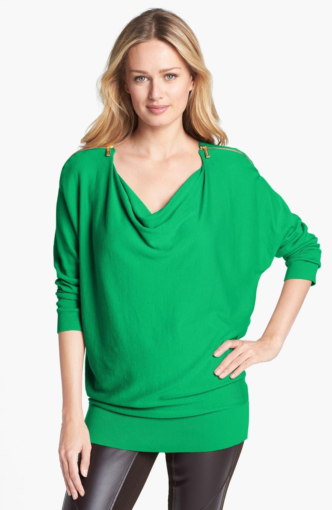 Main Image - MICHAEL Michael Kors Zip Shoulder Cowl Neck Sweater