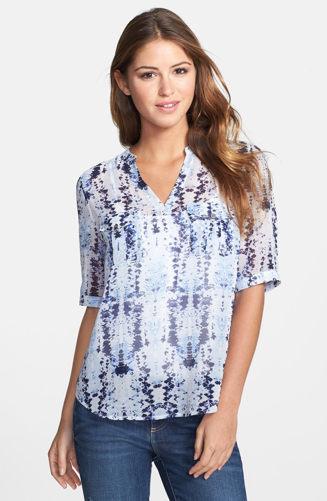 Alternate Image 1 Selected - Two by Vince Camuto Split Neck Short Sleeve Blouse